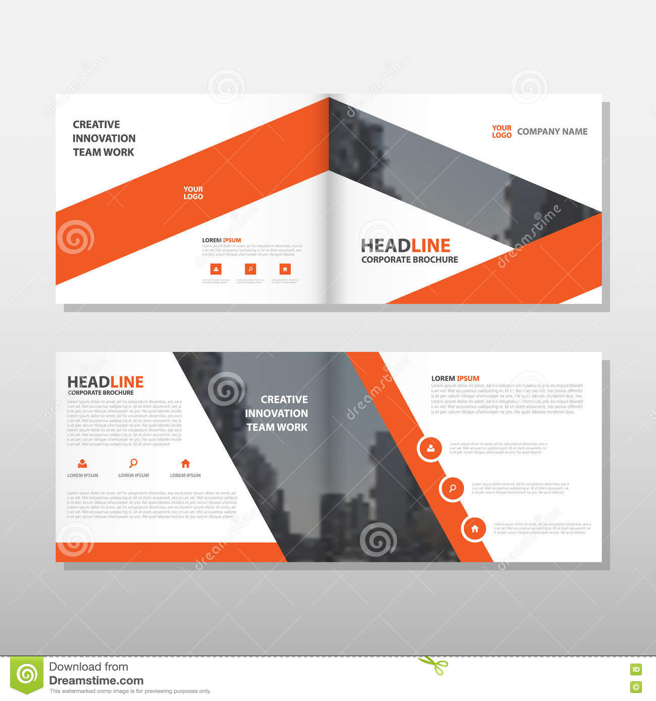 orange brochure leaflet flyer annual report template design book