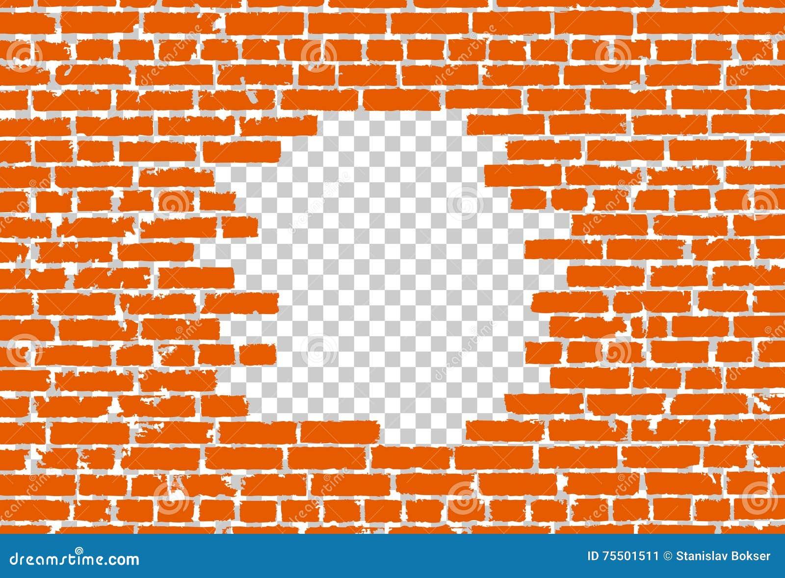 Orange Broken Realistic Old Black Brick Wall Concept On Transparent