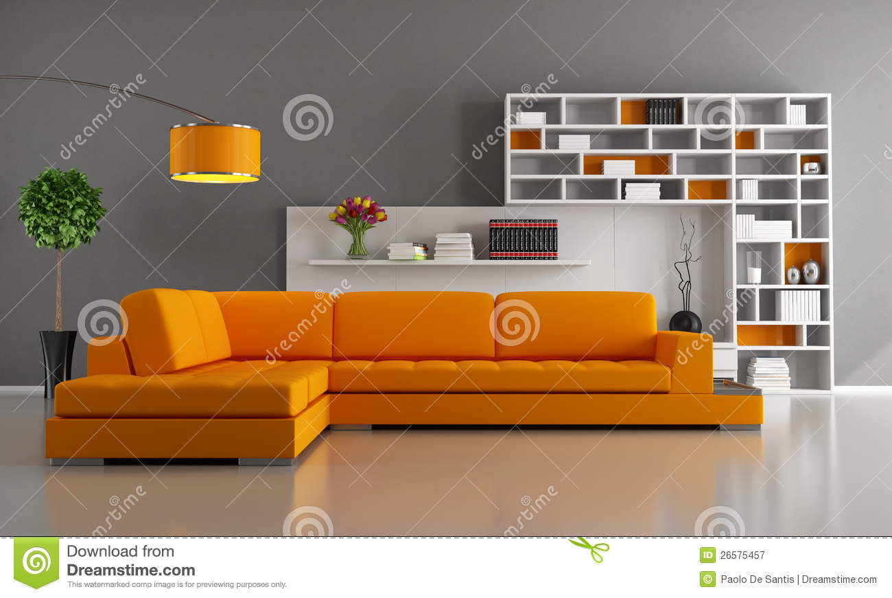 Orange And Brown Living Room Royalty Free Stock Photography Image 26575457