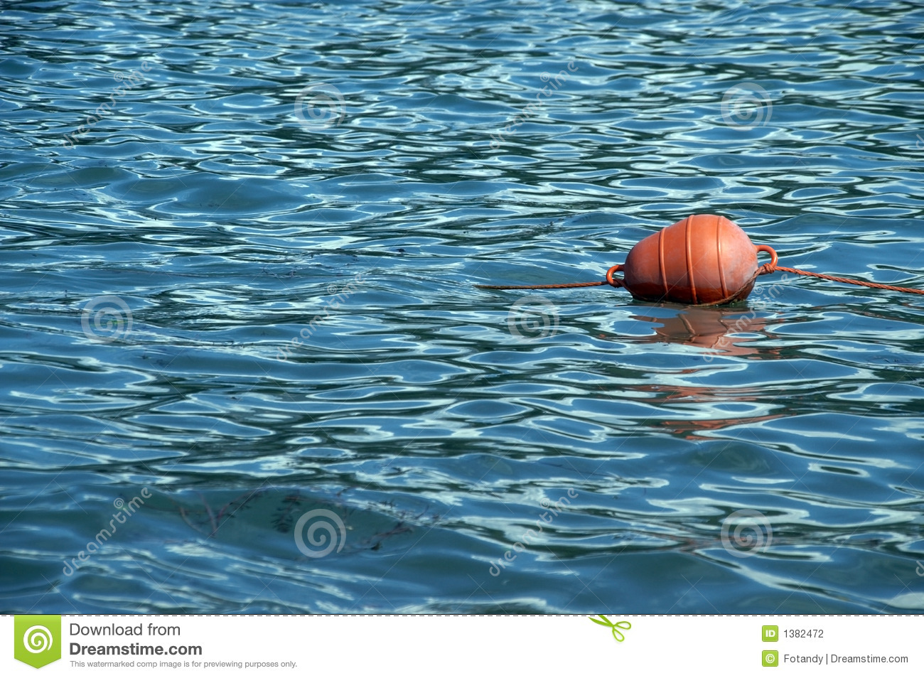 Orange Buoy Floating On Sea Stock Photography