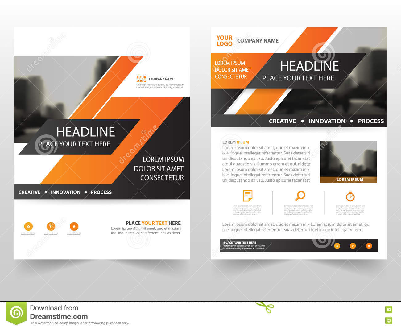orange business brochure leaflet flyer annual report template design