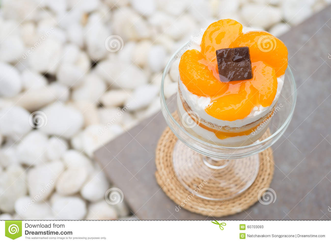 Orange Cake In Champagne Coupe Glass Stock Image - Image of