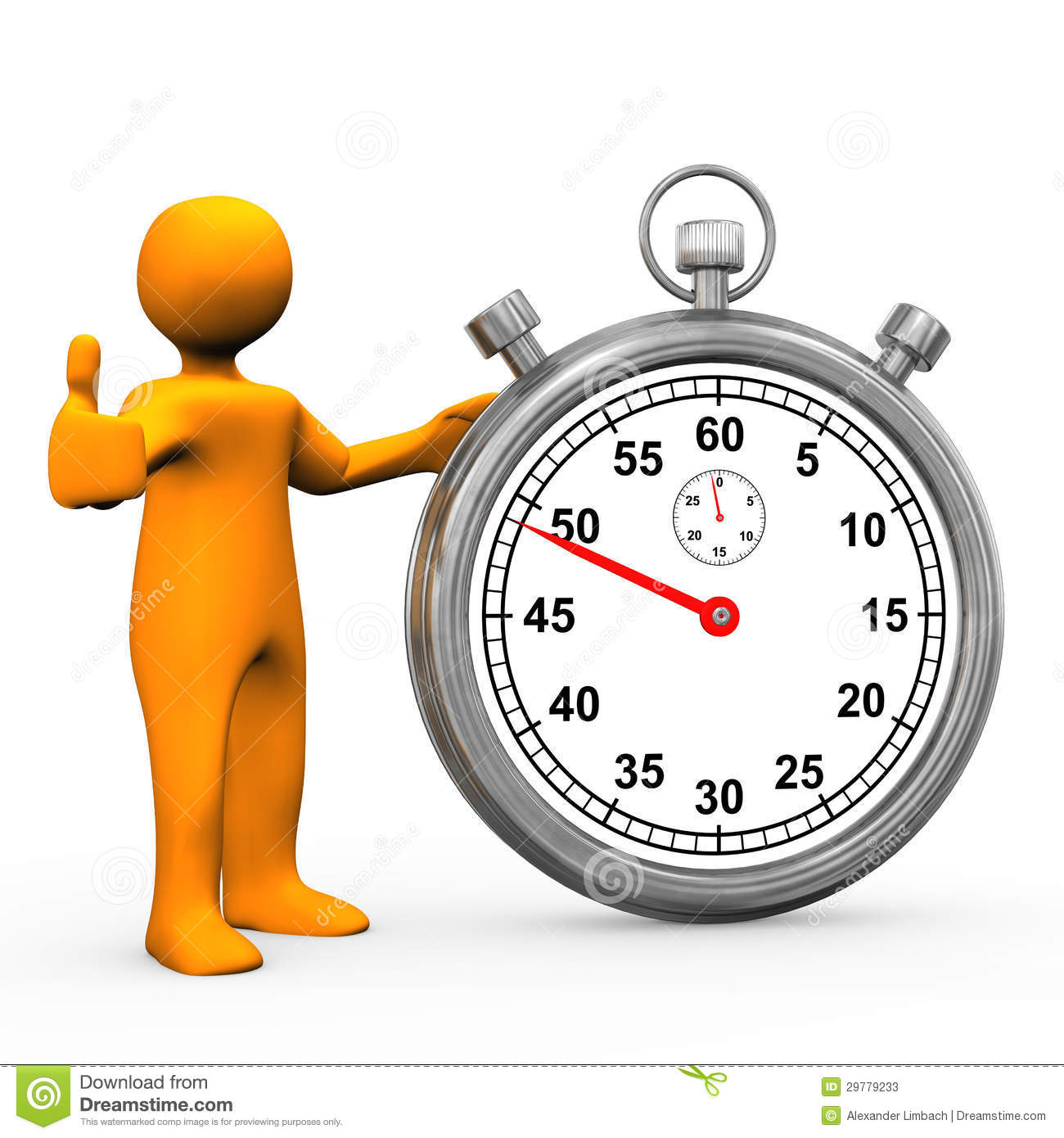 Orange cartoon character with stopwatch. White background.