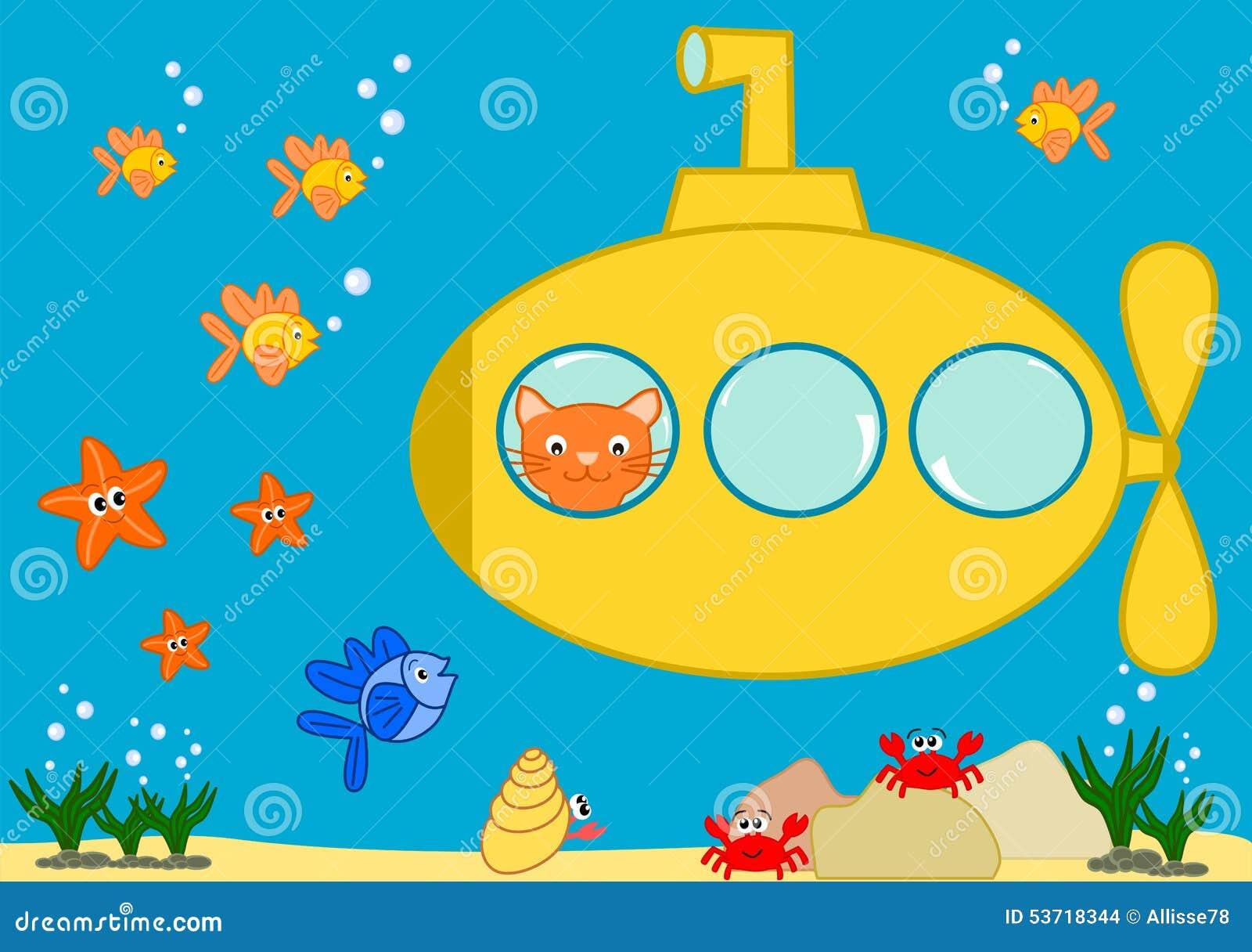 Orange Cat In A Yellow Submarine Funny Cartoon Illustration Stock
