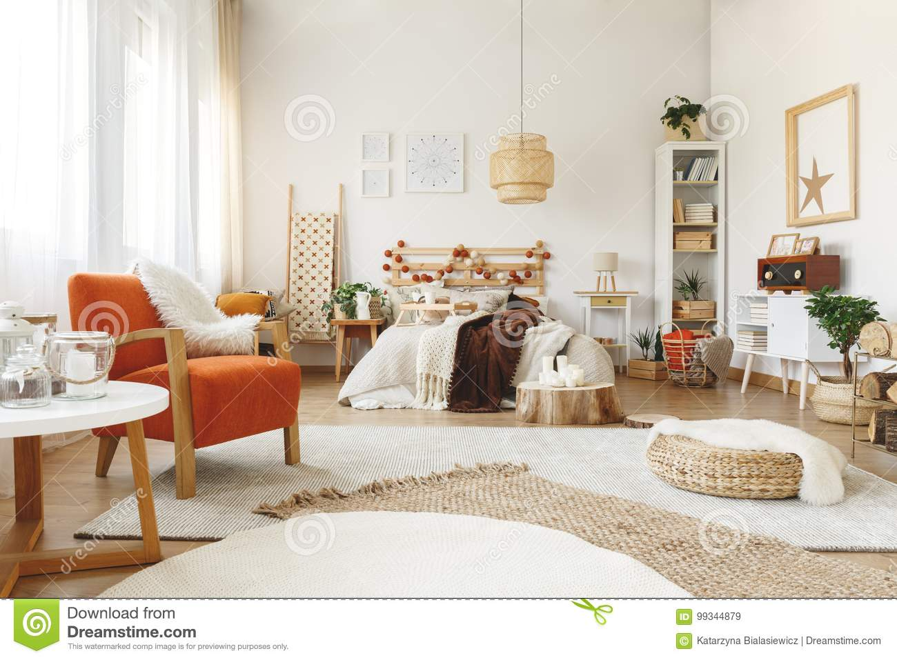 Orange Chair In Bedroom Stock Image Image Of Candles 99344879