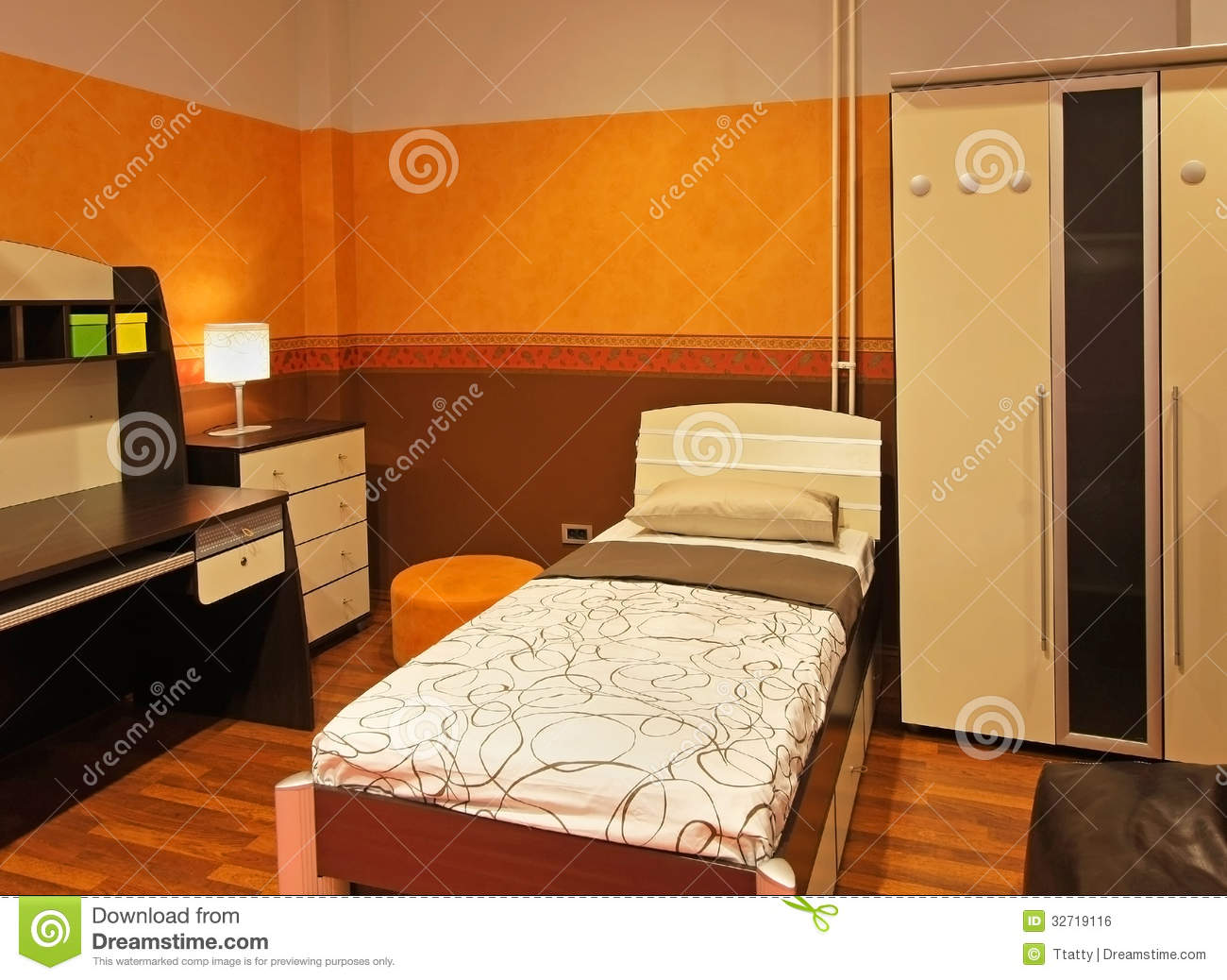 orange child bedroom royalty free stock image image