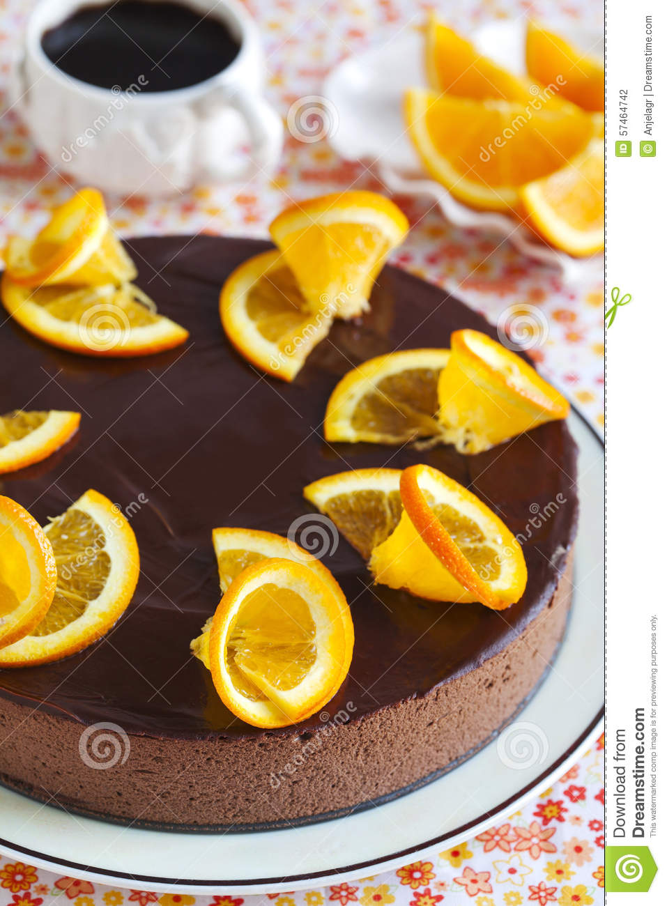 Orange Chocolate Mousse Cake Stock Photo - Image: 57464742
