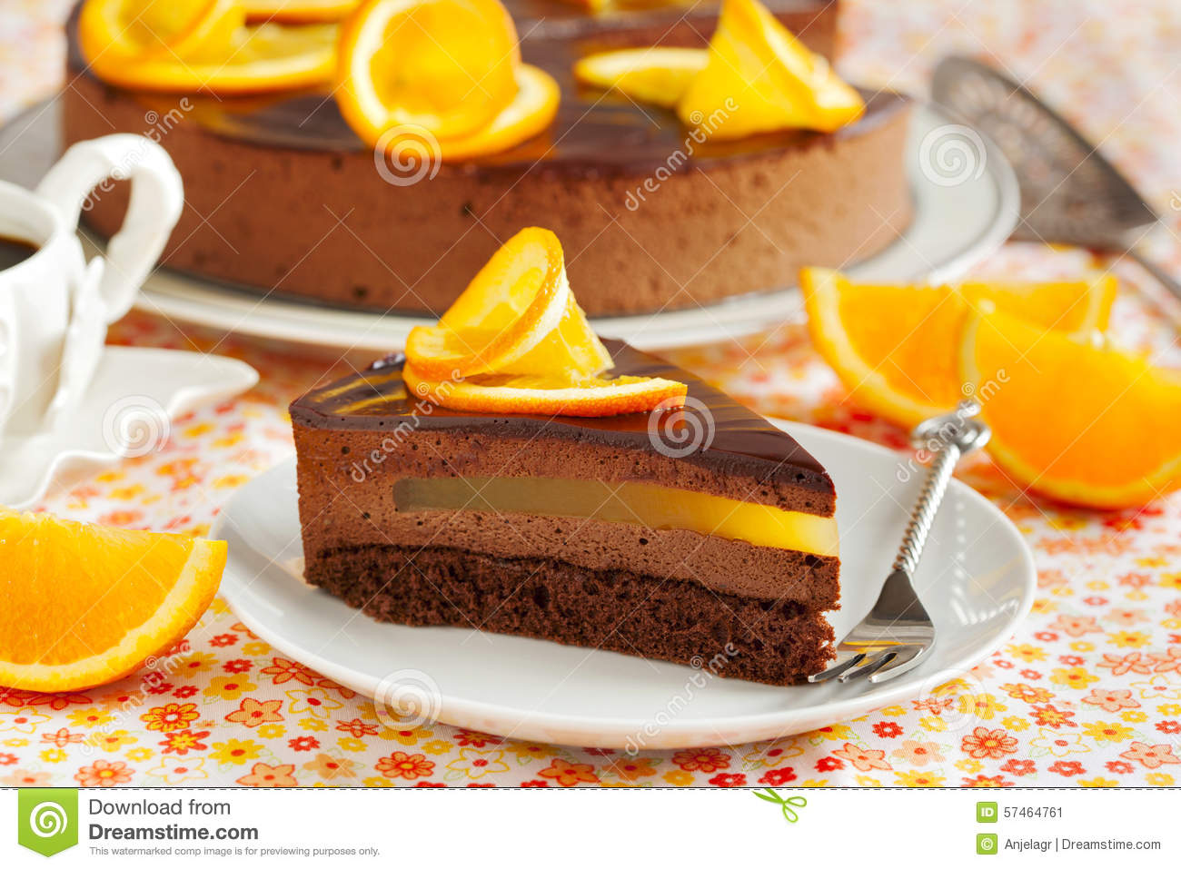 Orange Chocolate Mousse Cake Stock Photo - Image: 57464761