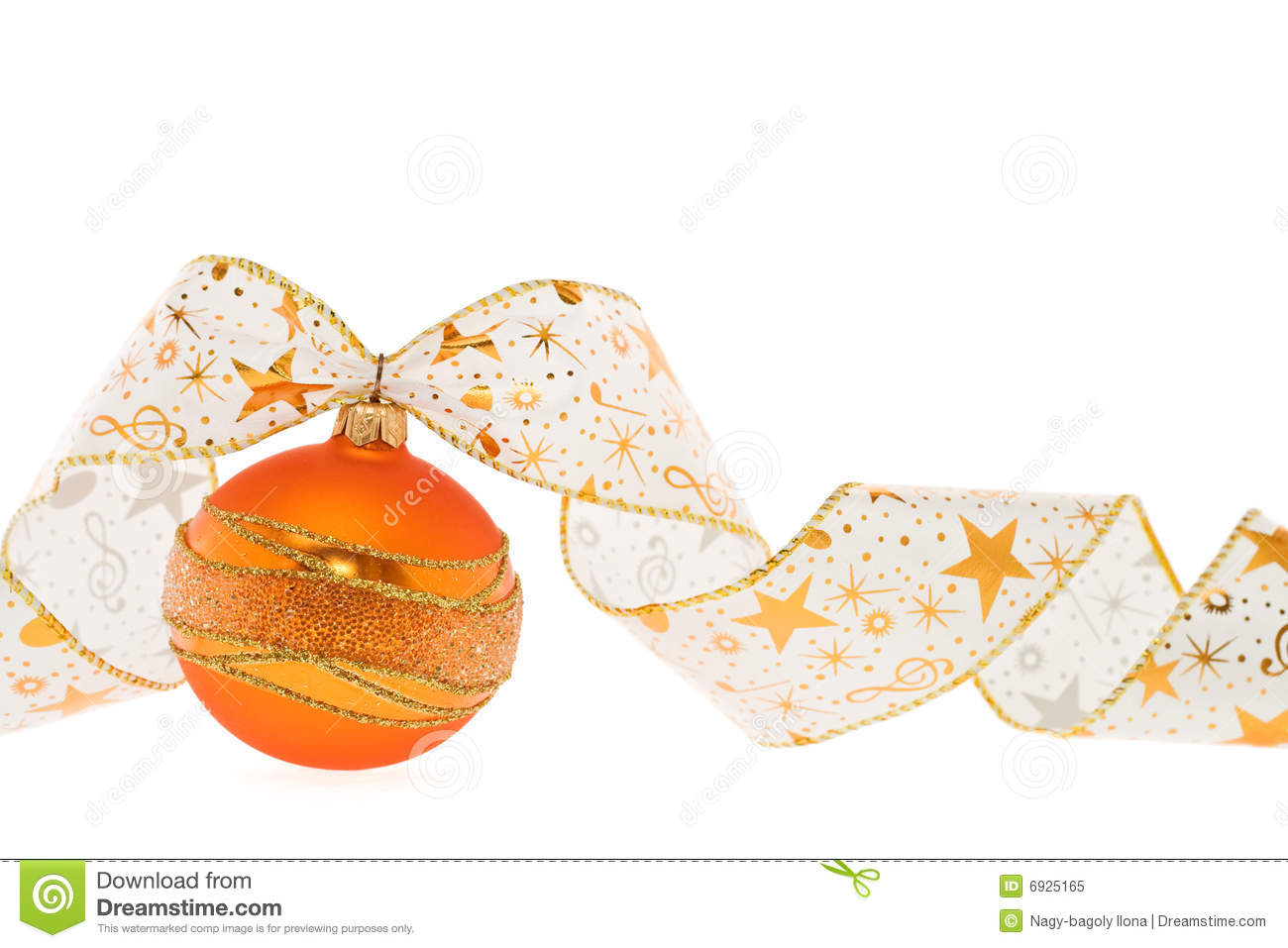 Orange Christmas Decoration With Curly Ribbon Royalty Free