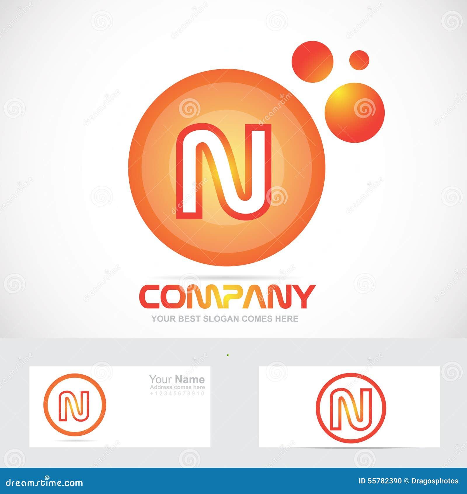 orange circle letter n bubble logo icon