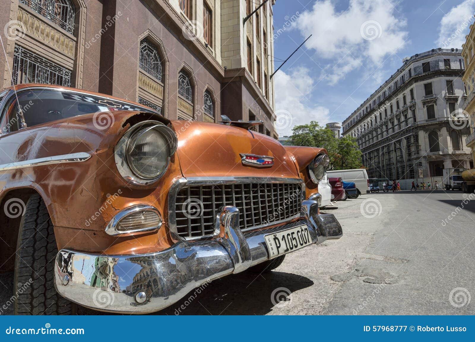 Orange Classic Car In Old Havana Cuba Editorial Photography