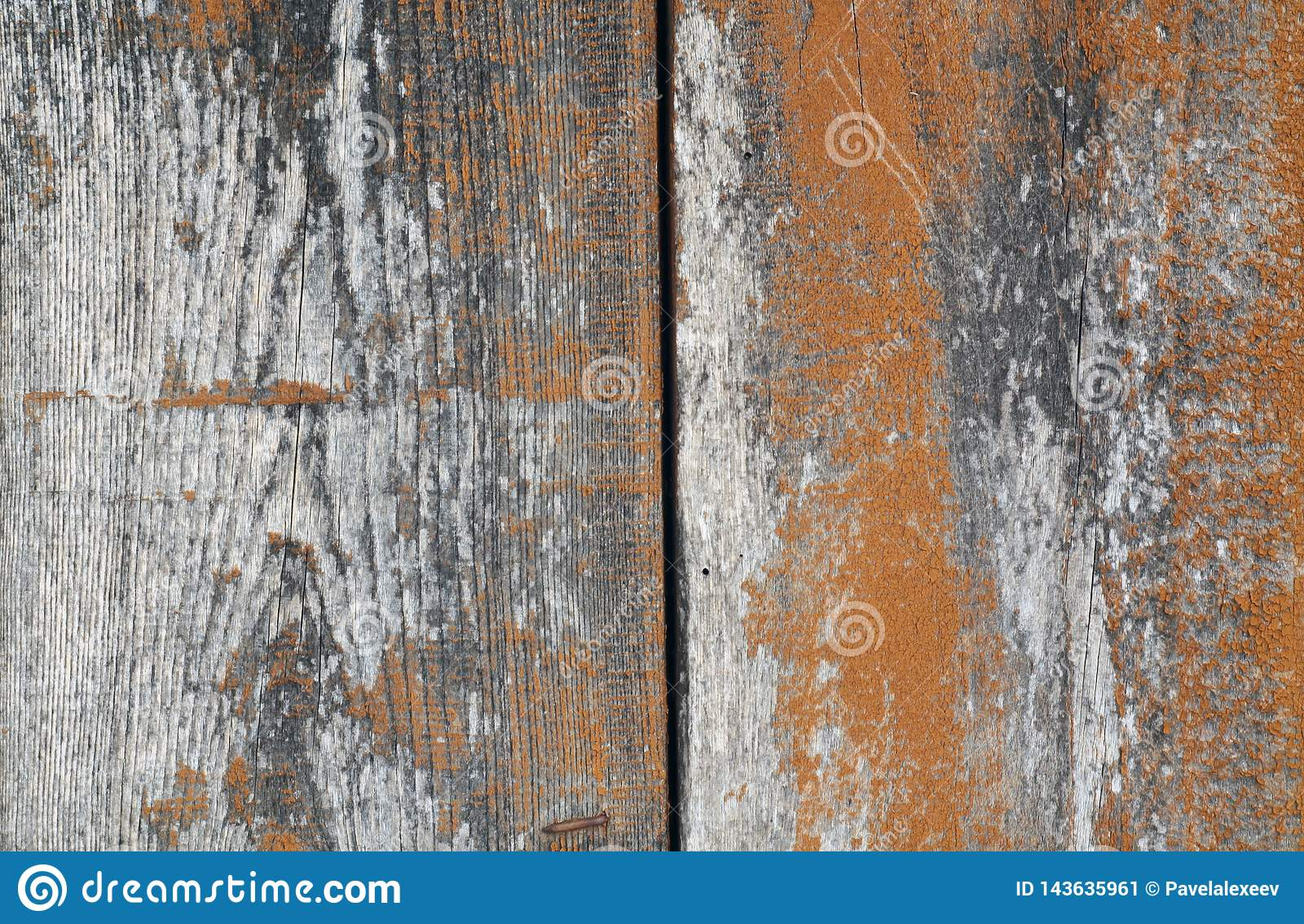 Orange color old grungy wooden planks background
