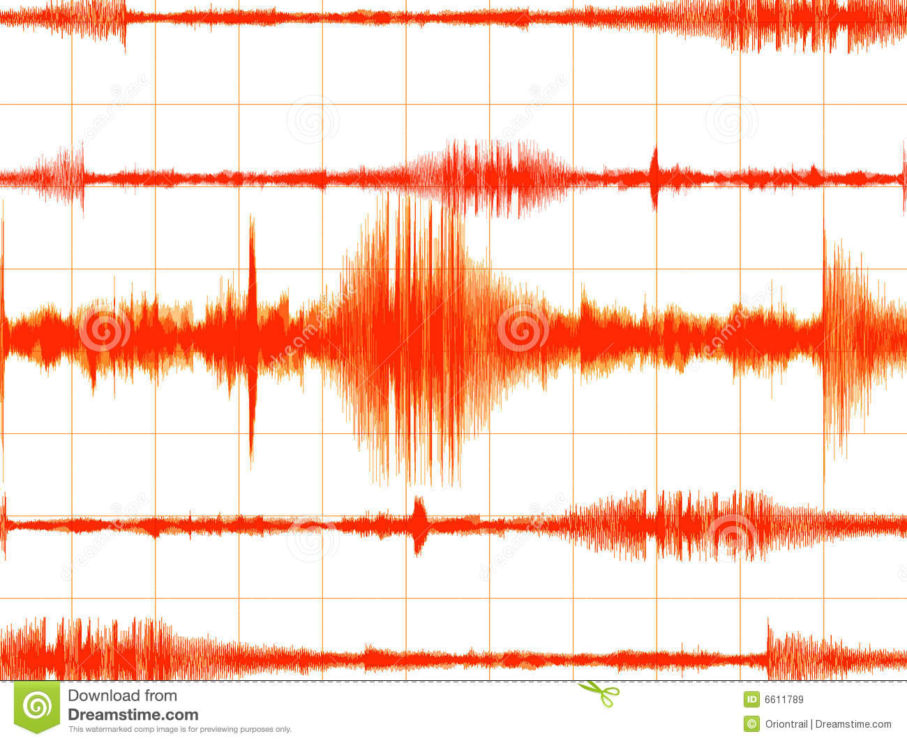 Orange Colored Earthquake Graph Royalty Free Stock Images