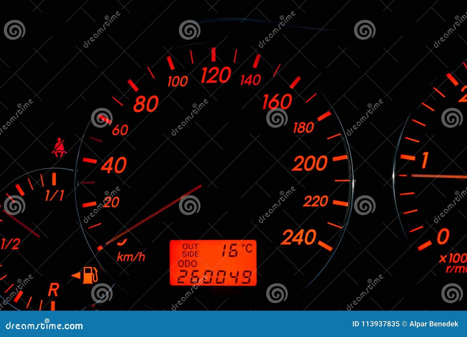 Orange Colored Modern Japanese Car Dashboard Stock Image ...