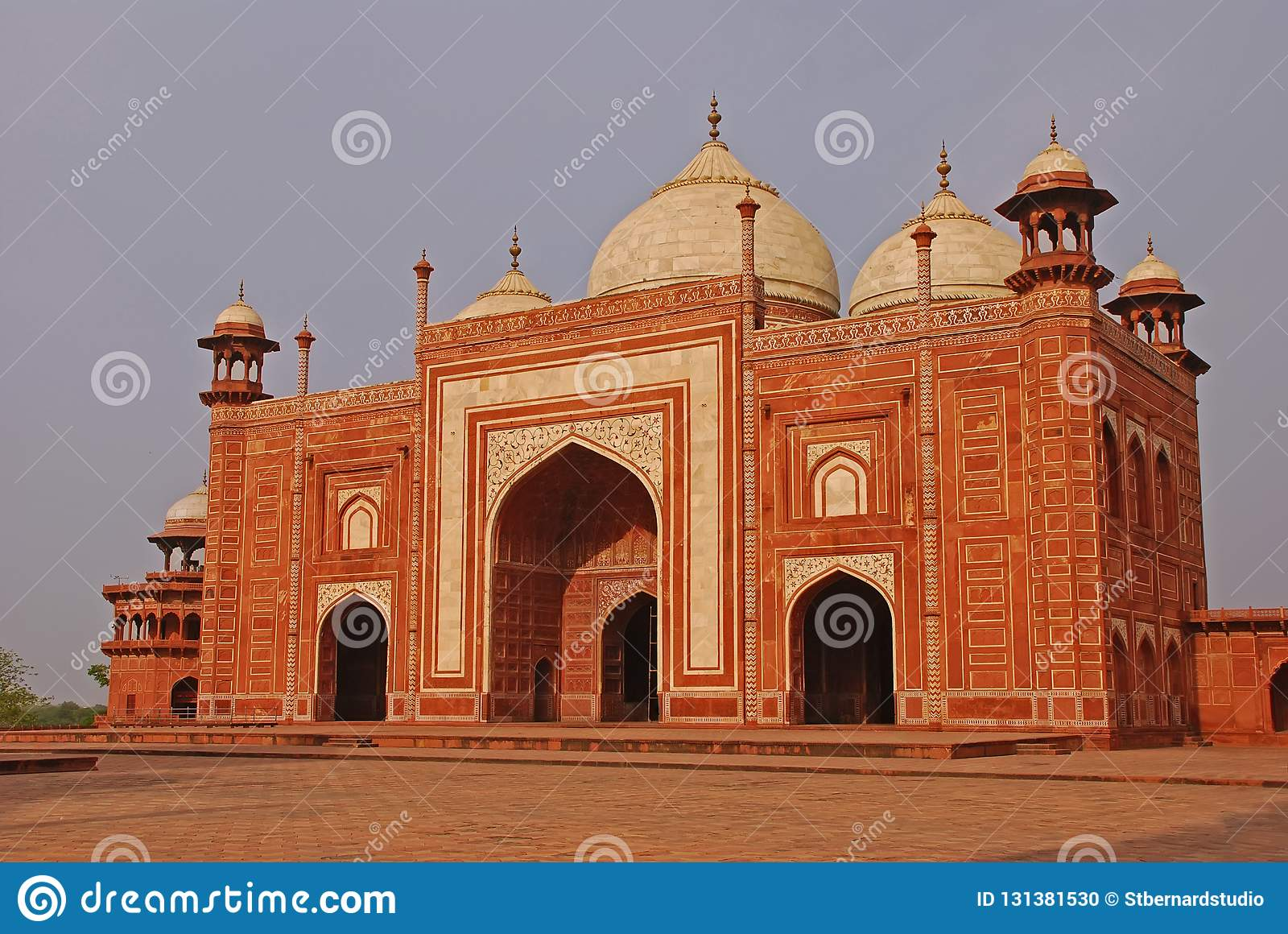 This orange colour structure is the outlying building in the Taj Mahal complex, Agra India