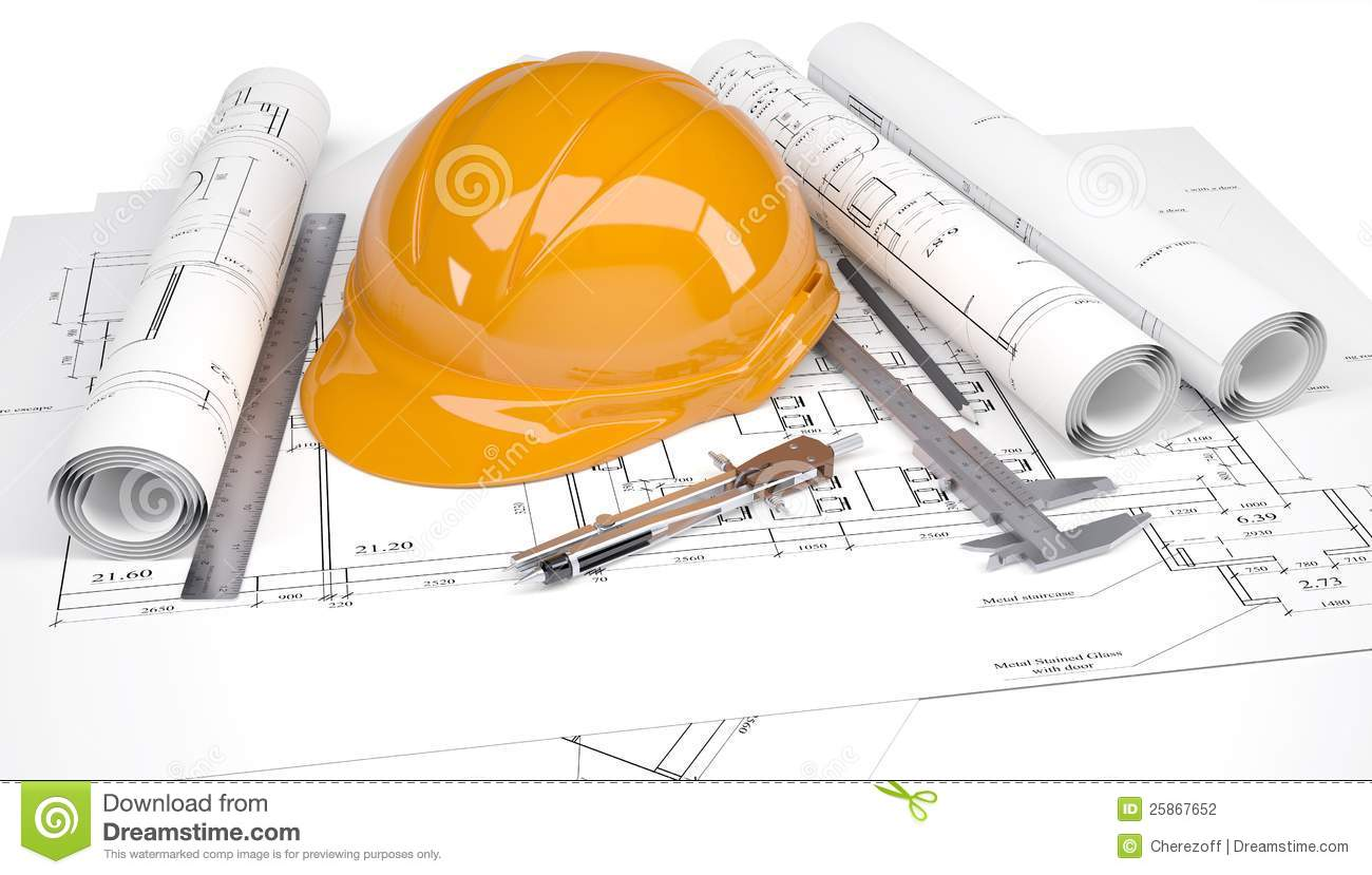 Orange construction helmet on the drawings stock for Construction drawing