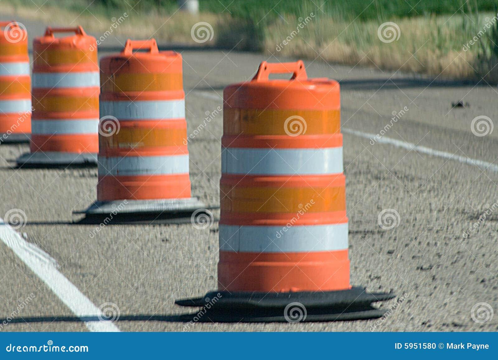 Orange Construction Warning Barrels Stock Photo - Image ...