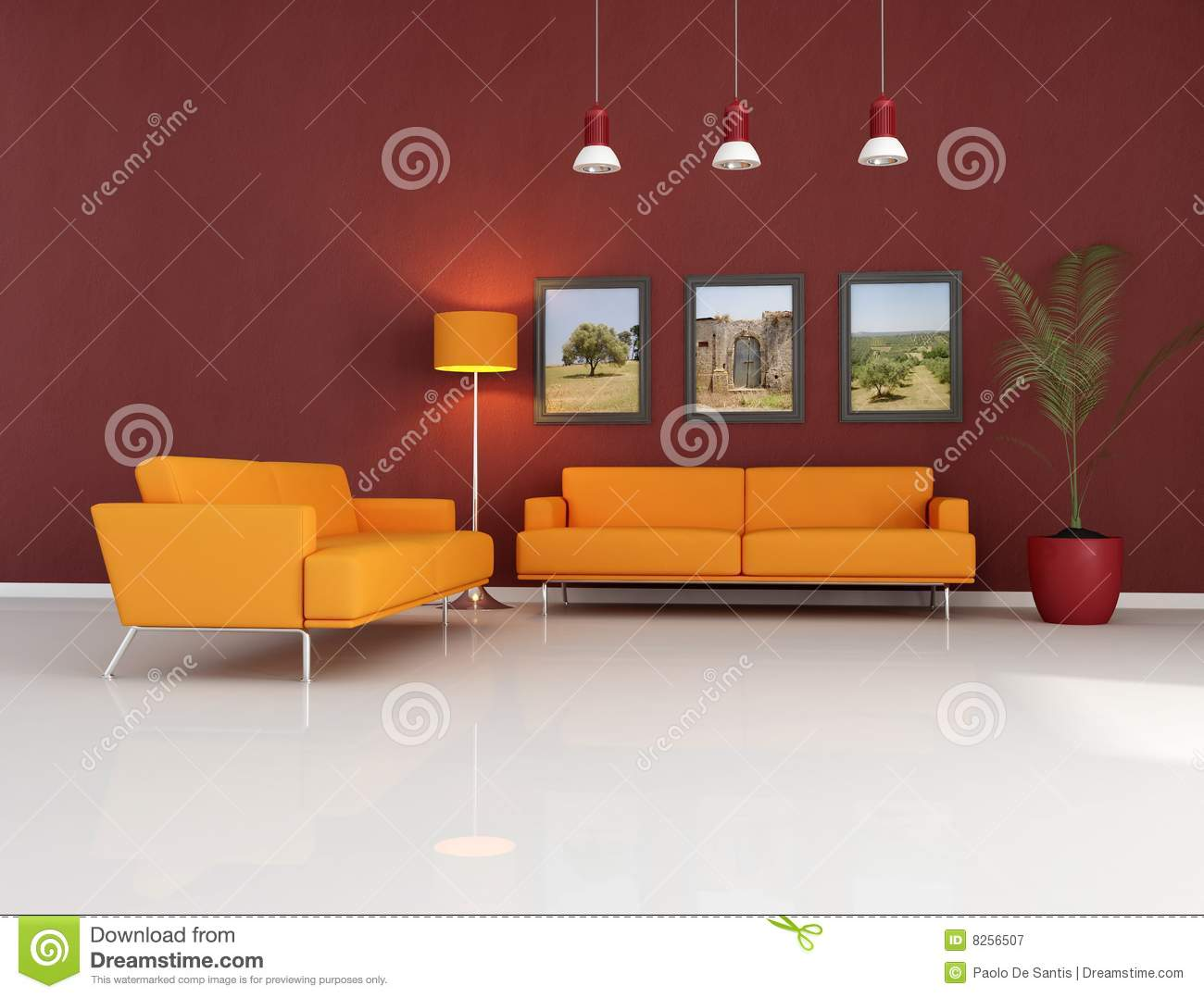 orange couch im modernen wohnzimmer lizenzfreie. Black Bedroom Furniture Sets. Home Design Ideas