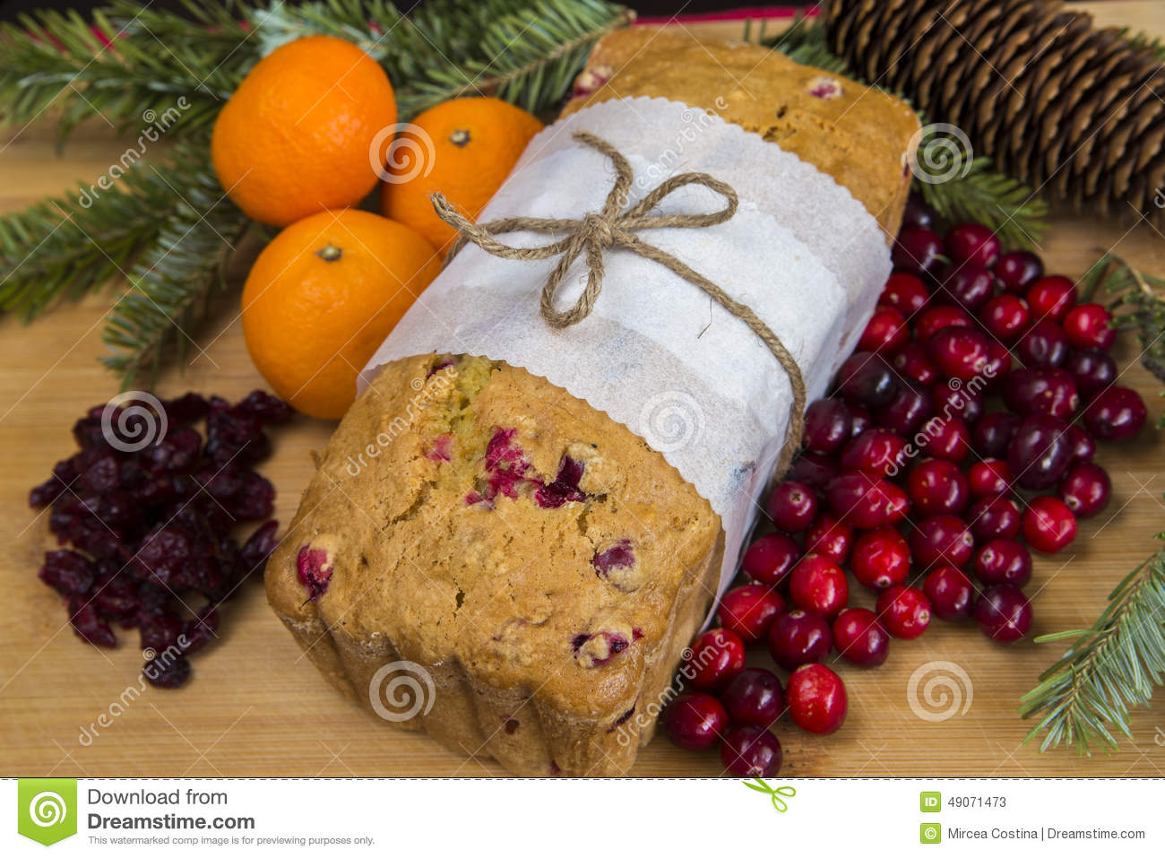 Christmas Loaf Cake Decoration : Orange Cranberry Loaf Cake Stock Photo - Image: 49071473
