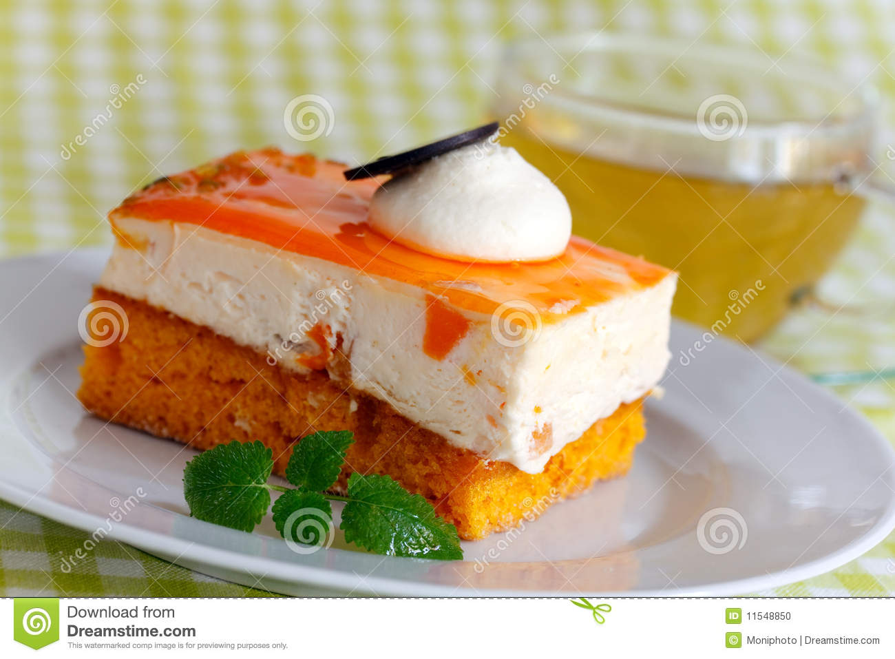Orange Cream Cake With Cream Stock Photo - Image: 11548850