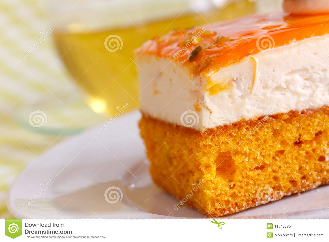 Orange Cream Cake With Cream Royalty Free Stock Photo - Image ...