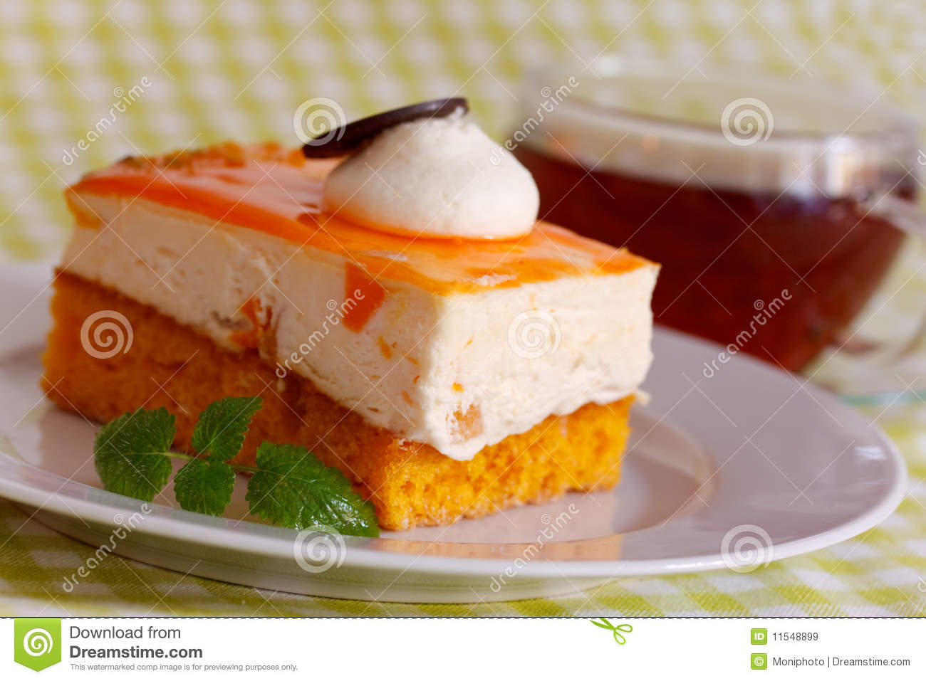 Orange Cream Cake With Cream Royalty Free Stock Images - Image ...