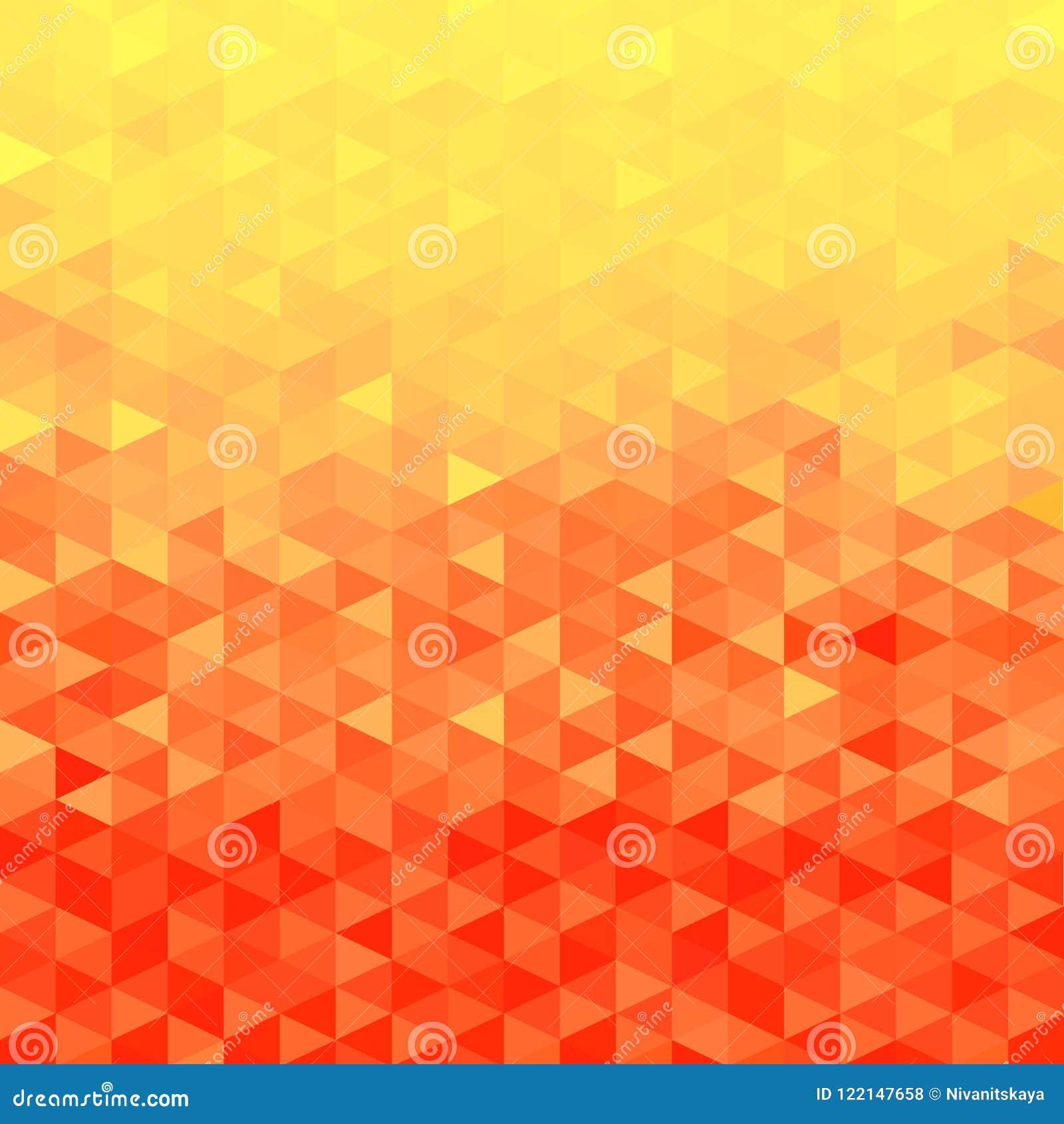 Orange crystal background. Triangle pattern. Orange background.