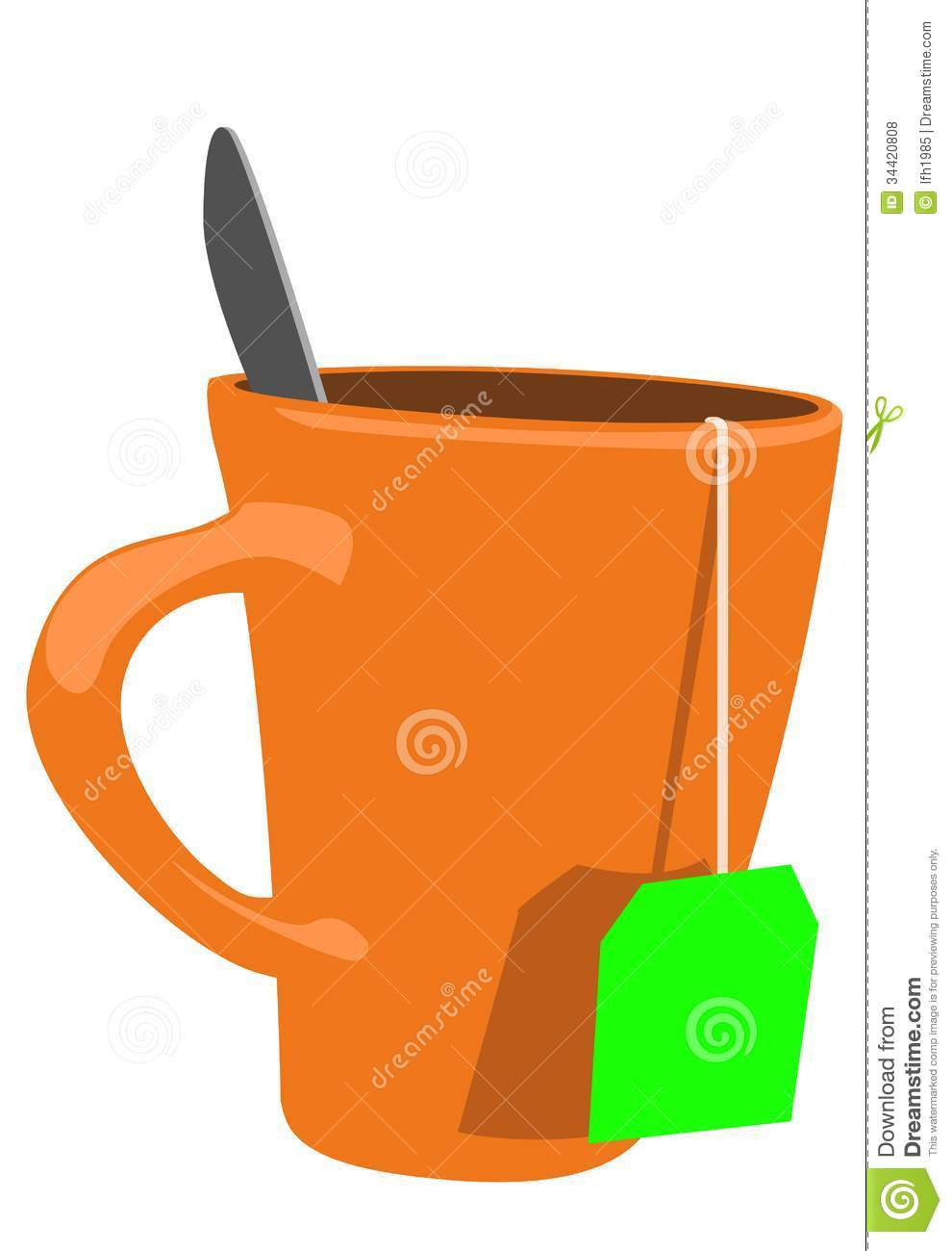 Orange Cup Of Tea With Green Label Royalty Free Stock Photos - Image ...