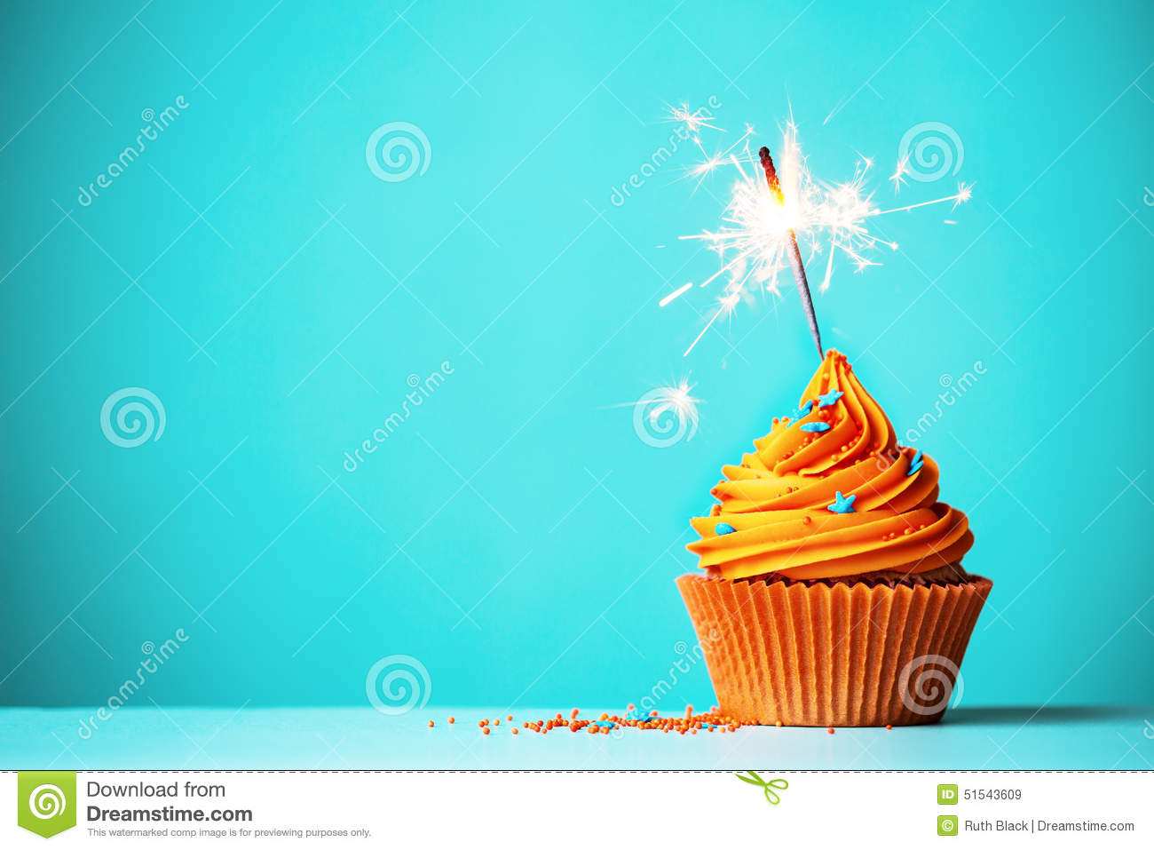 Orange Cupcake With Sparkler Stock Image Image Of Cakes