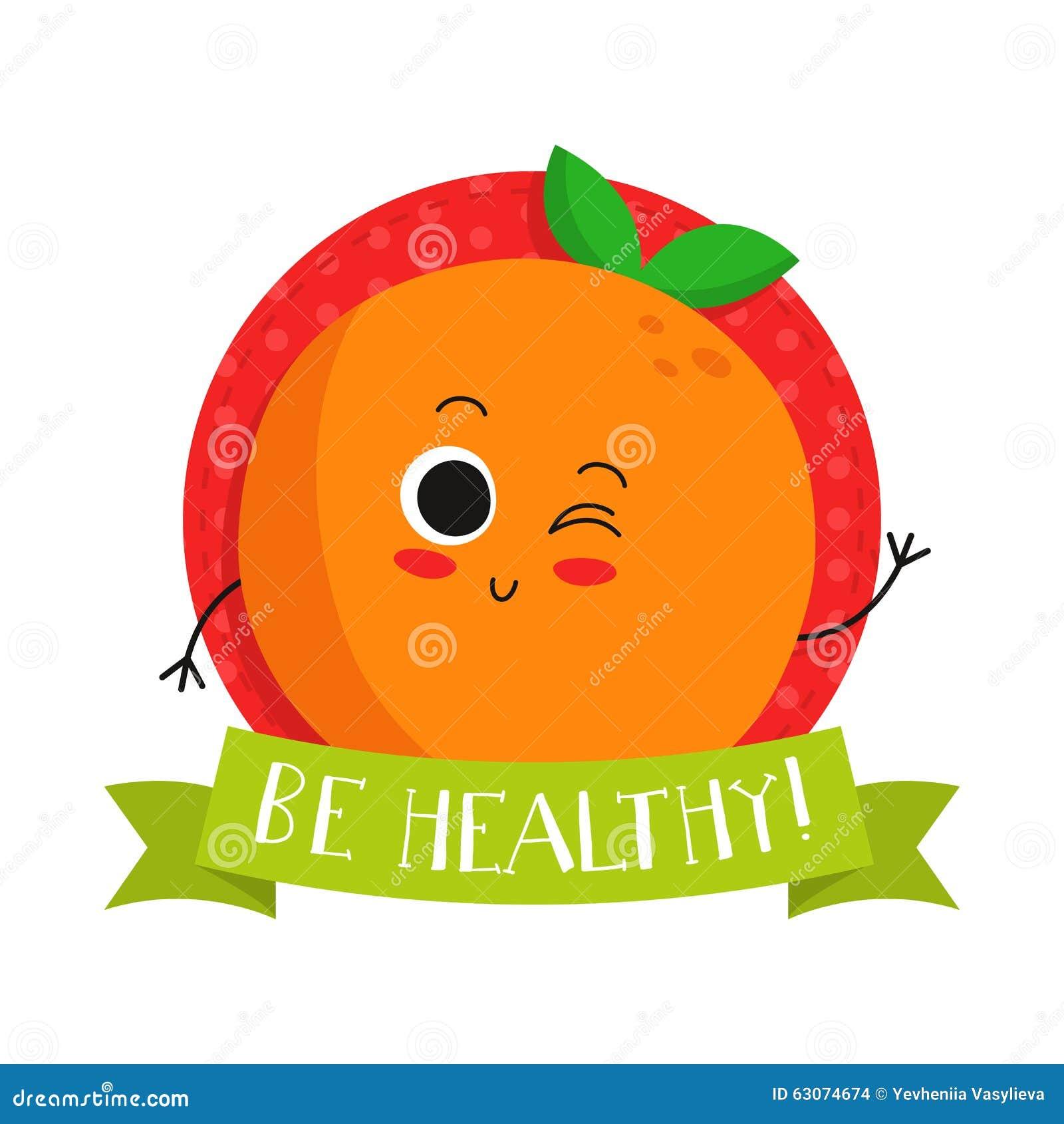 orange cute fruit vector character bagde stock vector