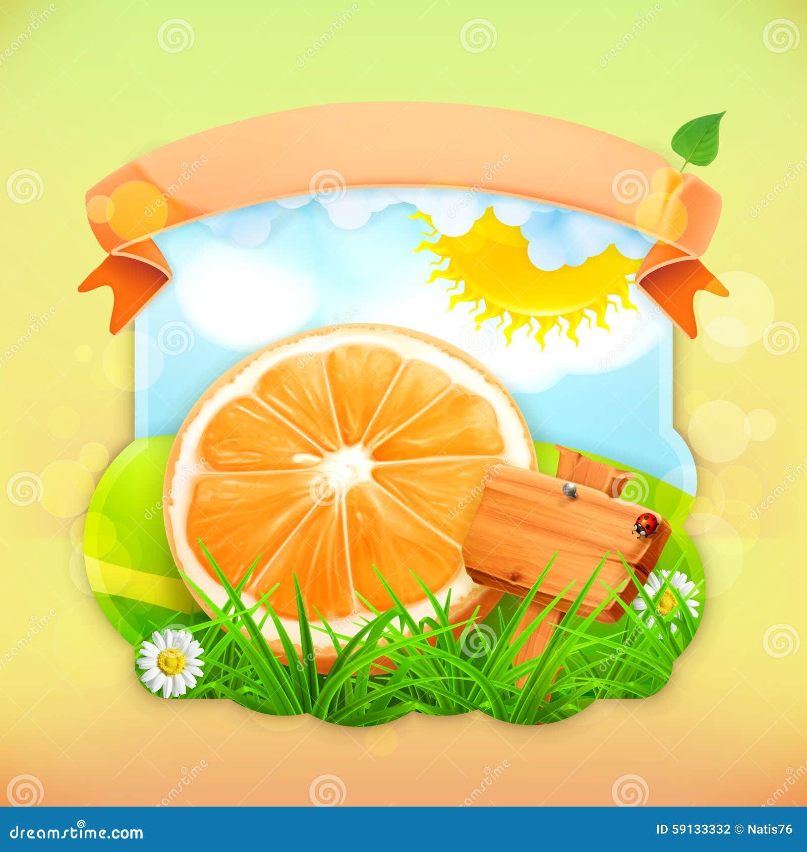 Orange de label de fruit frais