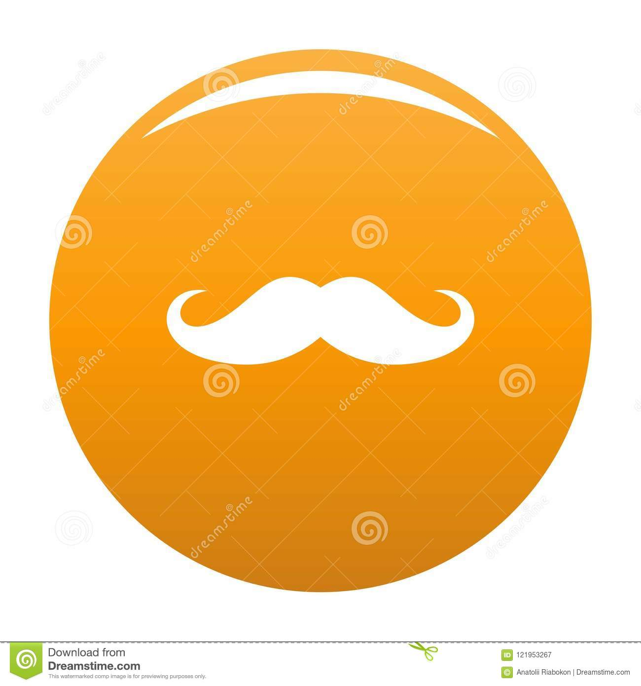 Orange de vecteur d icône de moustache de l Italie
