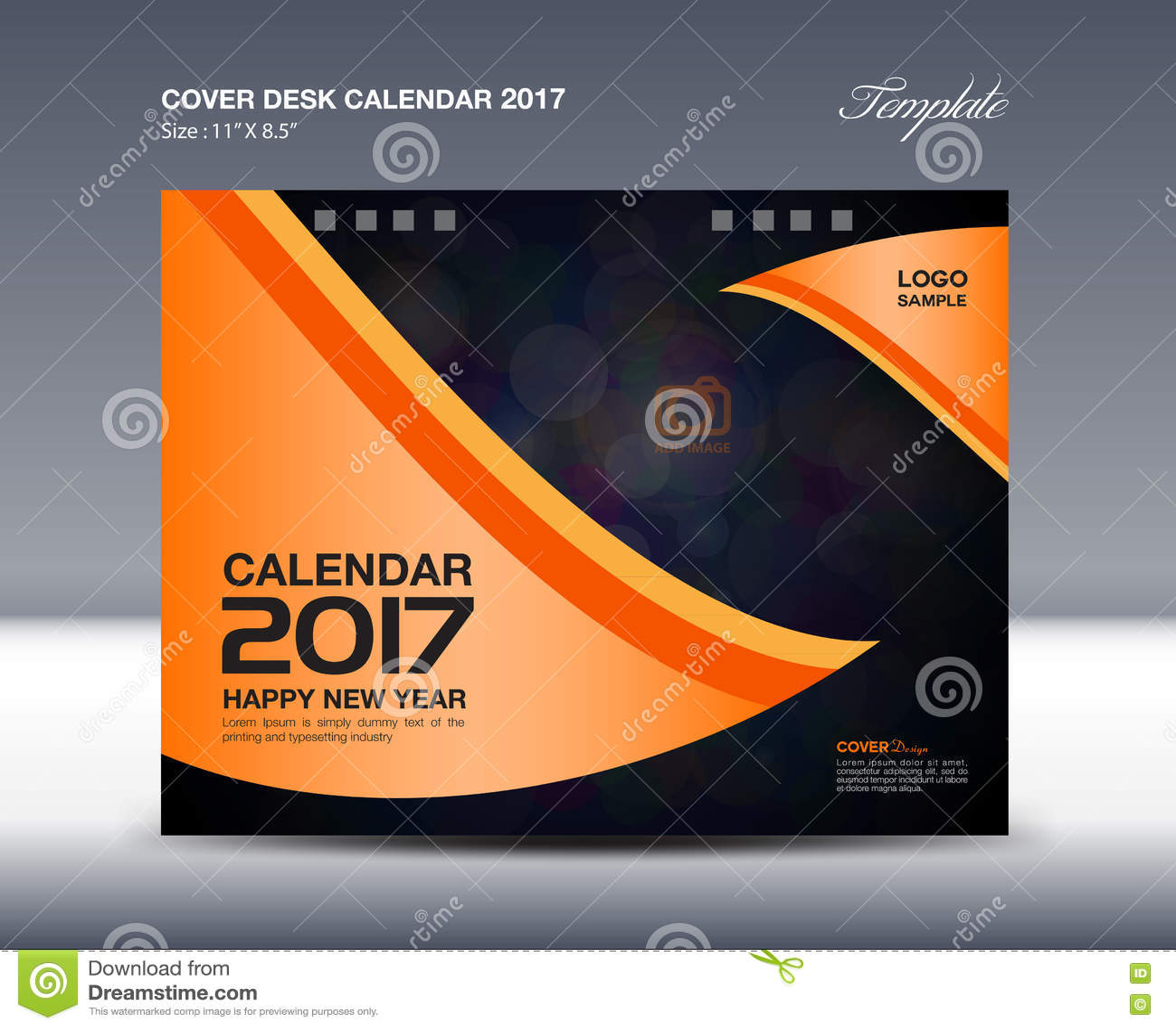 Cover Calendar Design Vector : Orange desk calendar for year cover