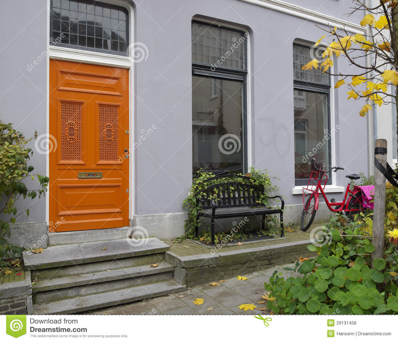 Orange Door Stock Photo Image Of Handle Entrance Street 29131458