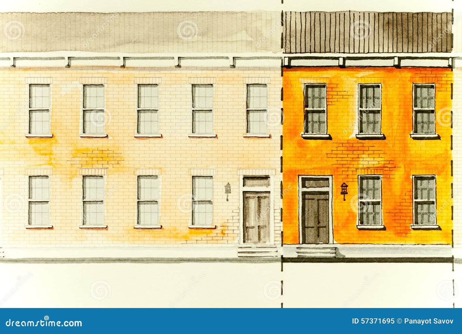 Orange elevation architectural sketch drawing of block for Brick elevation design