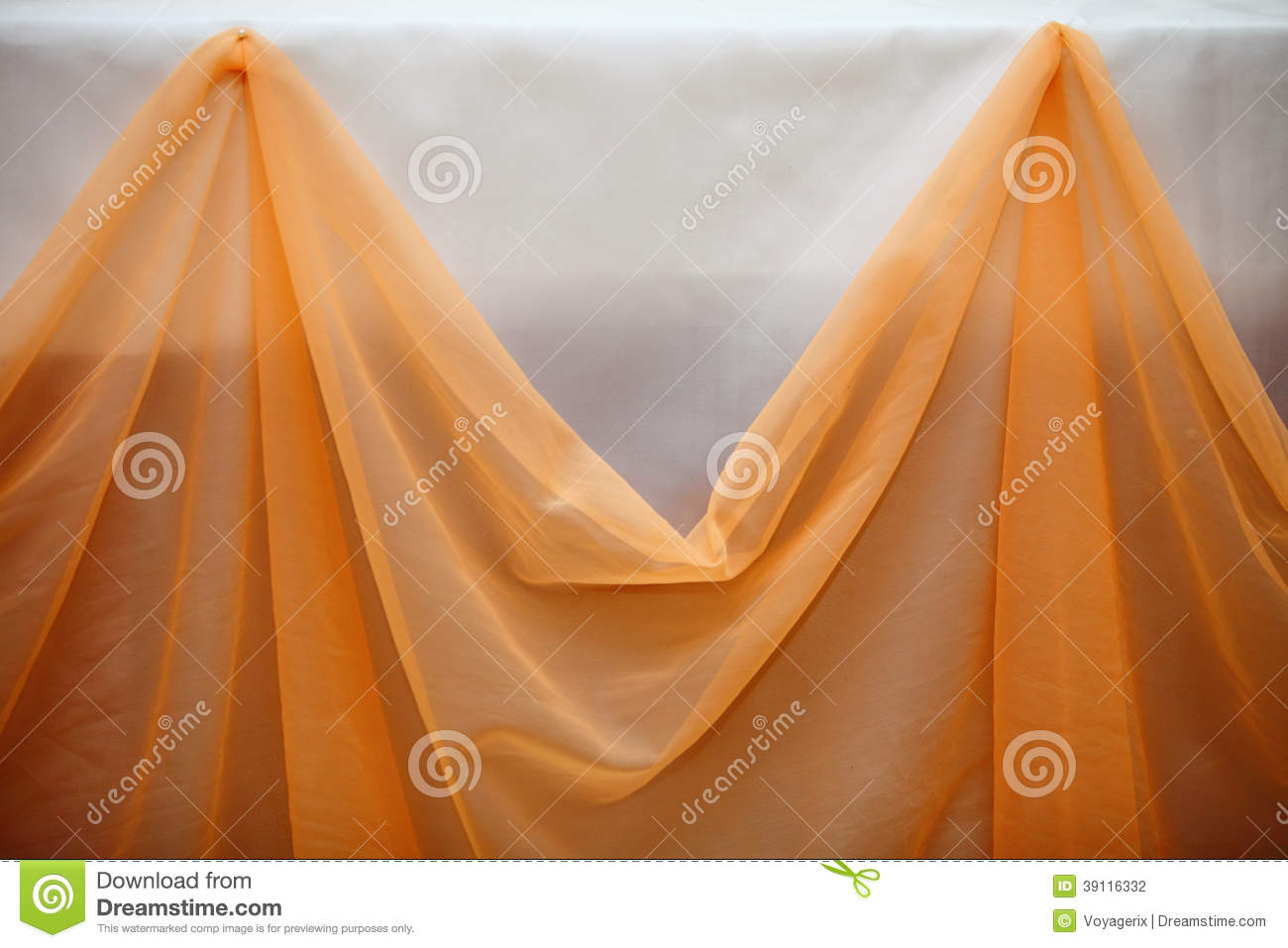 Orange Fabric Cloth And White Wall Decor Detail Stock Photo Image