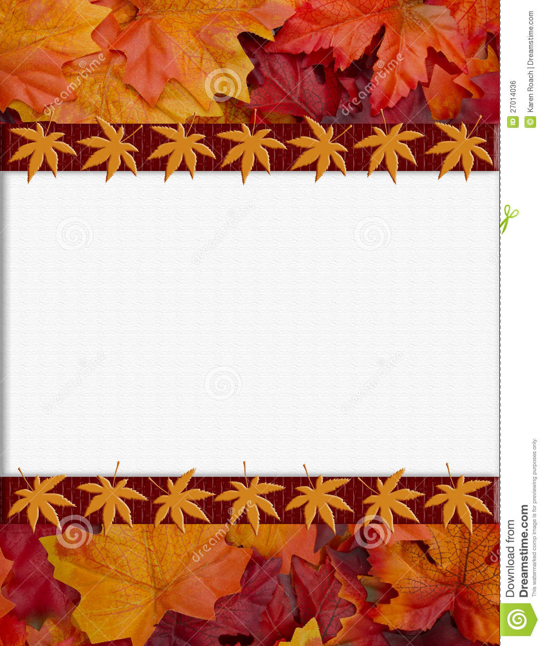 orange fall frame for your message or invitation stock photo image