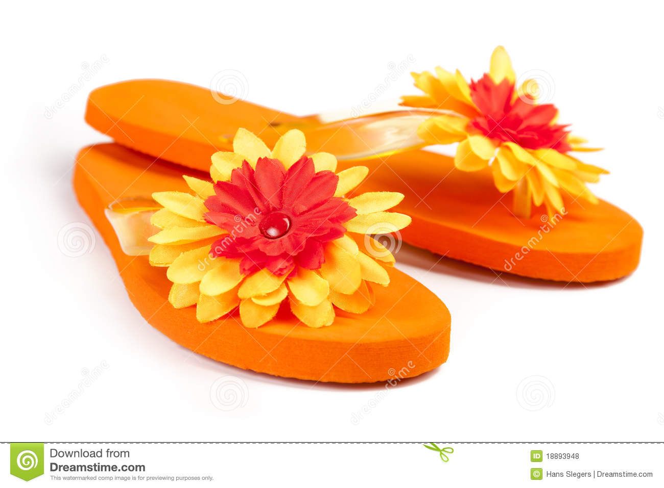 Orange flip flops with flowers stock photo image of flip pair orange flip flops with flowers mightylinksfo