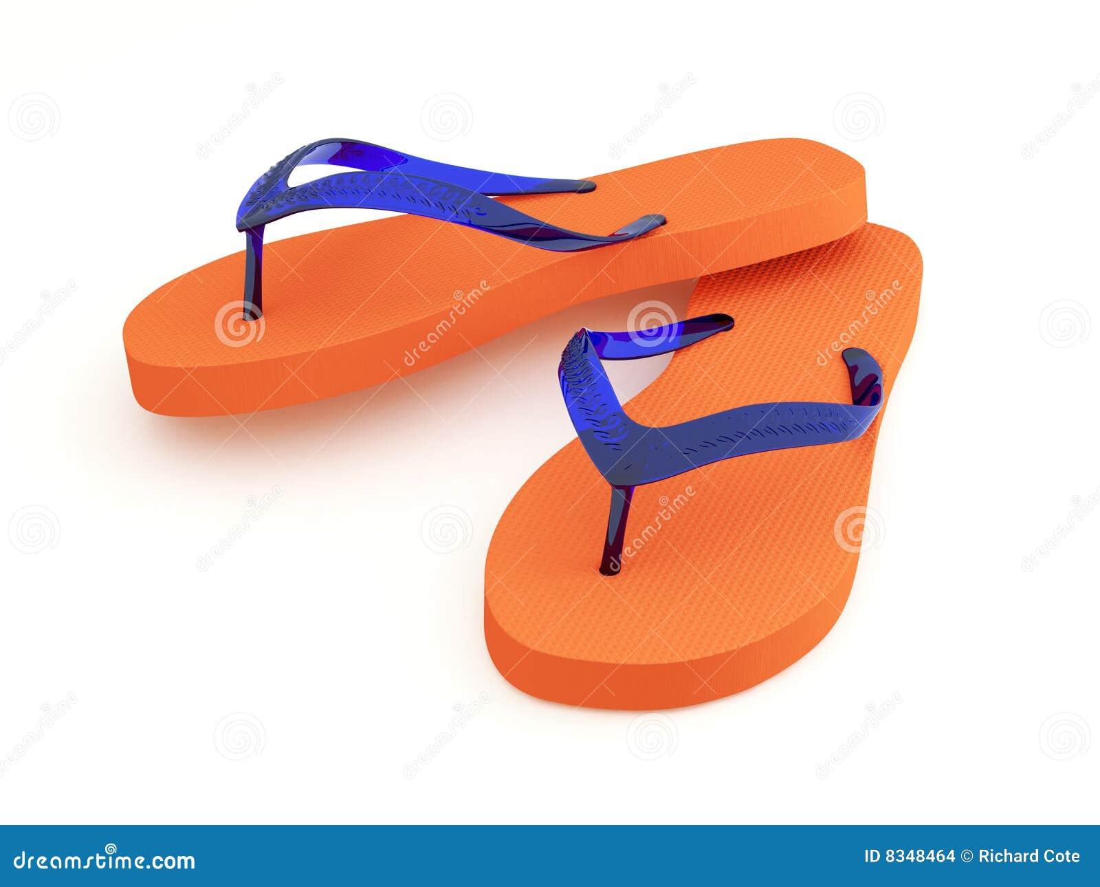 Orange Flipflops auf weißem Hintergrund