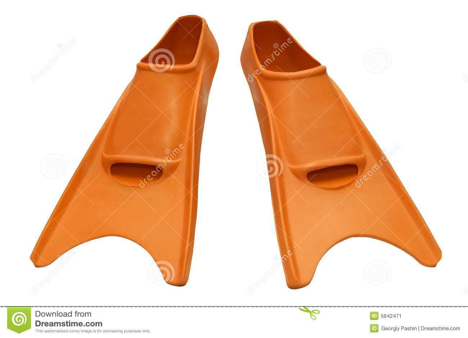 Orange flippers isolated