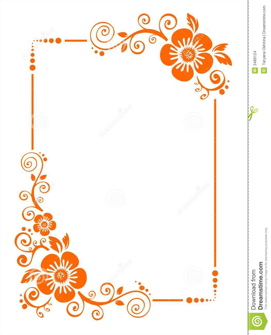 Orange flower border stock vector. Illustration of abstract - 3489124