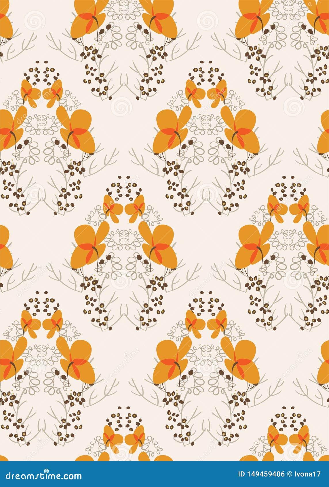 Orange flower seamless pattern vector floral design primitive scandinavian