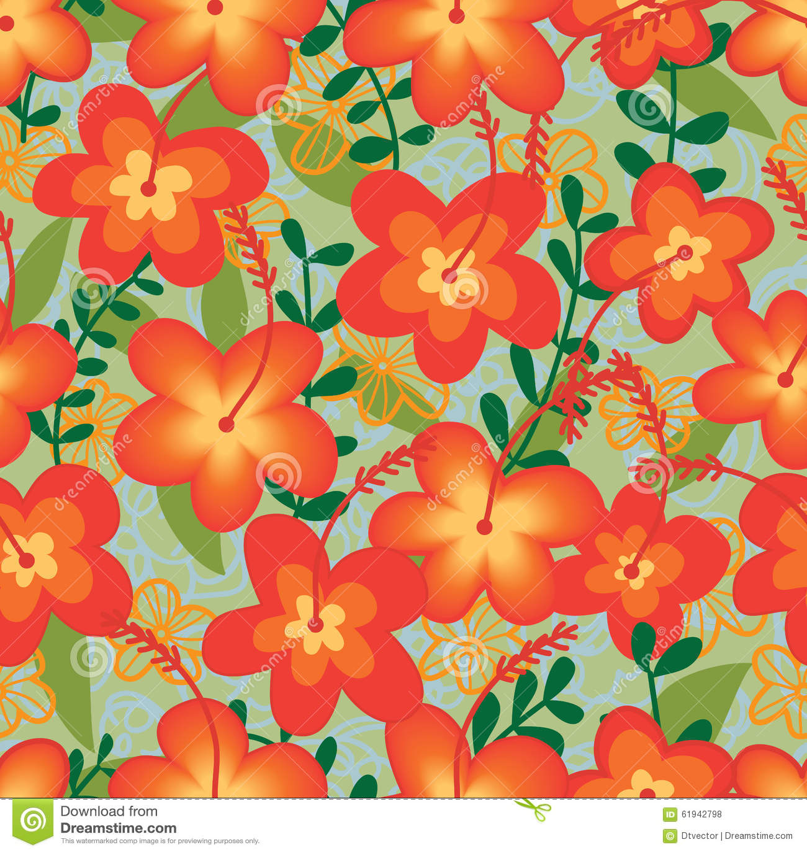 Orange Flower Wild Fabric Seamless Pattern Stock Vector