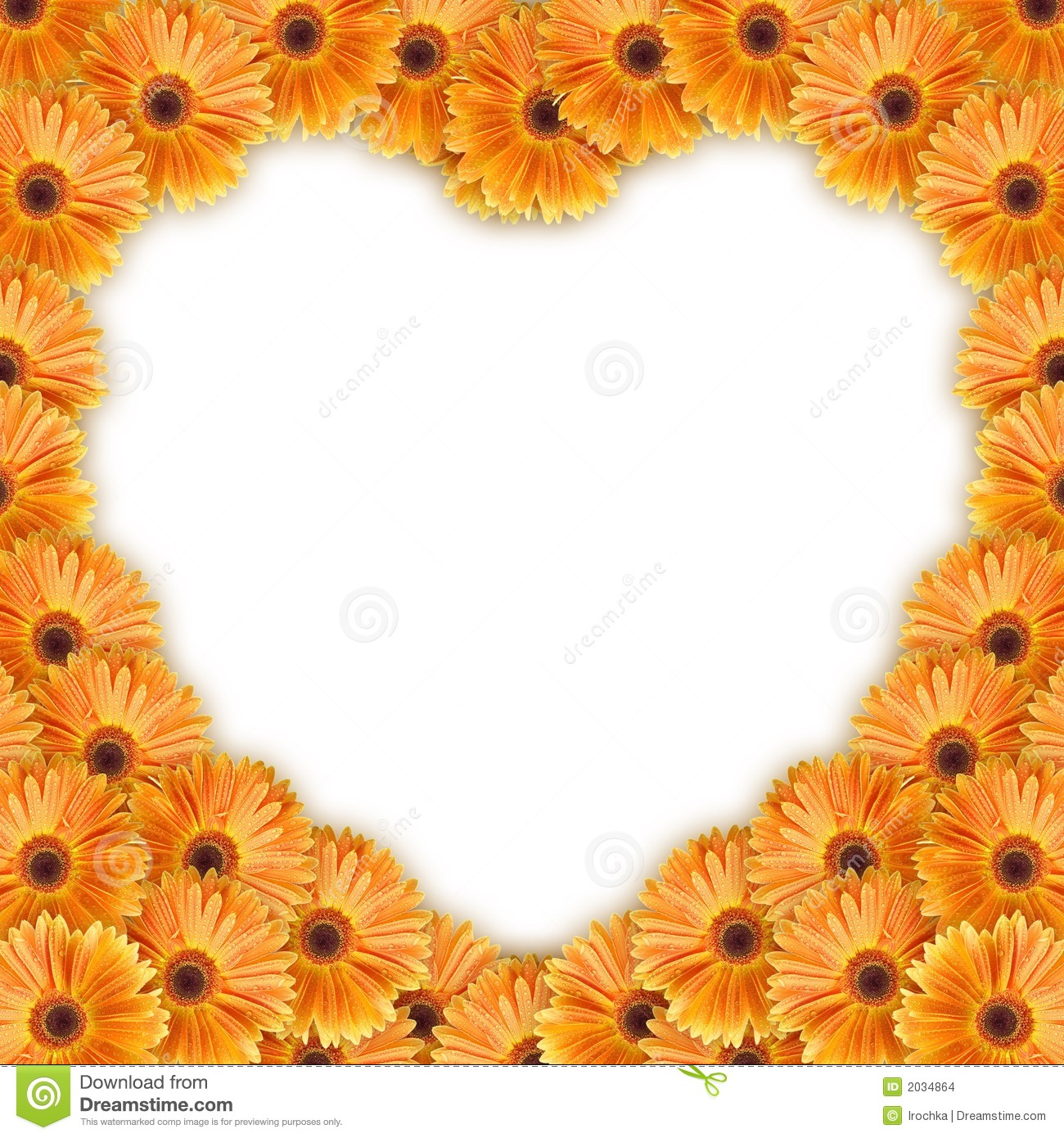 Orange flowers arranged in a heart pattern. Copy space available.