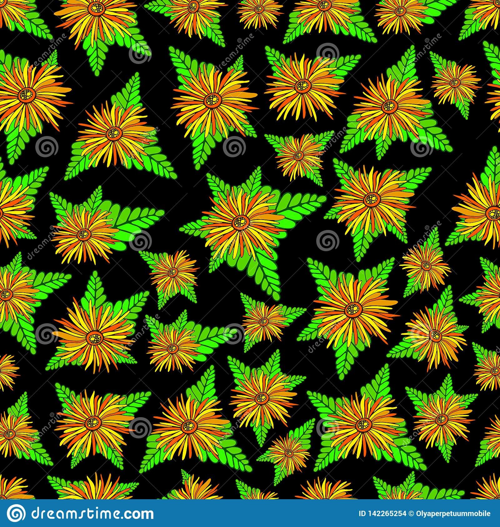 Orange flowers and plants seamless texture. Floral colorful fantasy ornament. Original vector flowers art pattern.