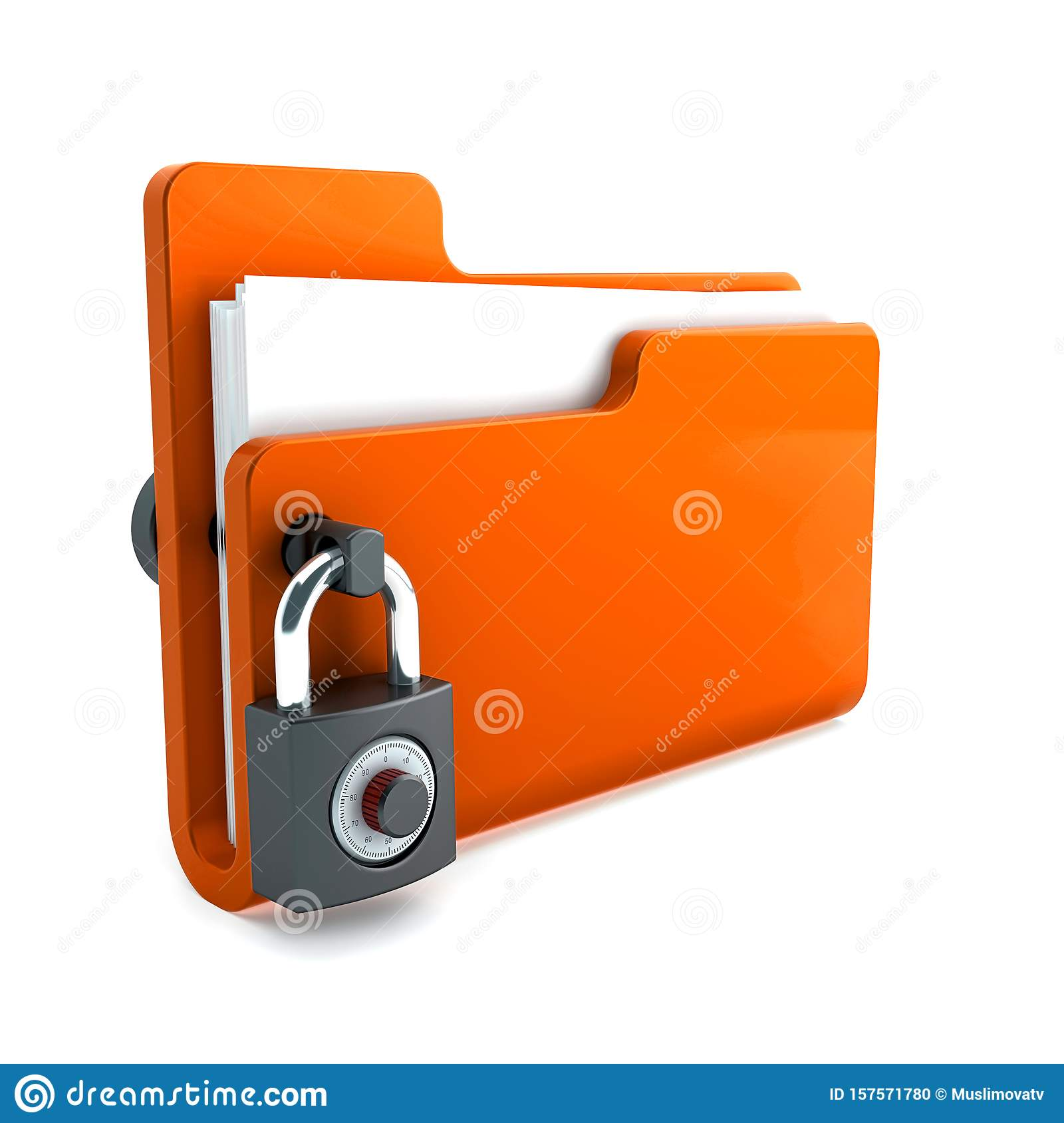 orange folder with the lock isolated on white background. Data security concept. 3d render