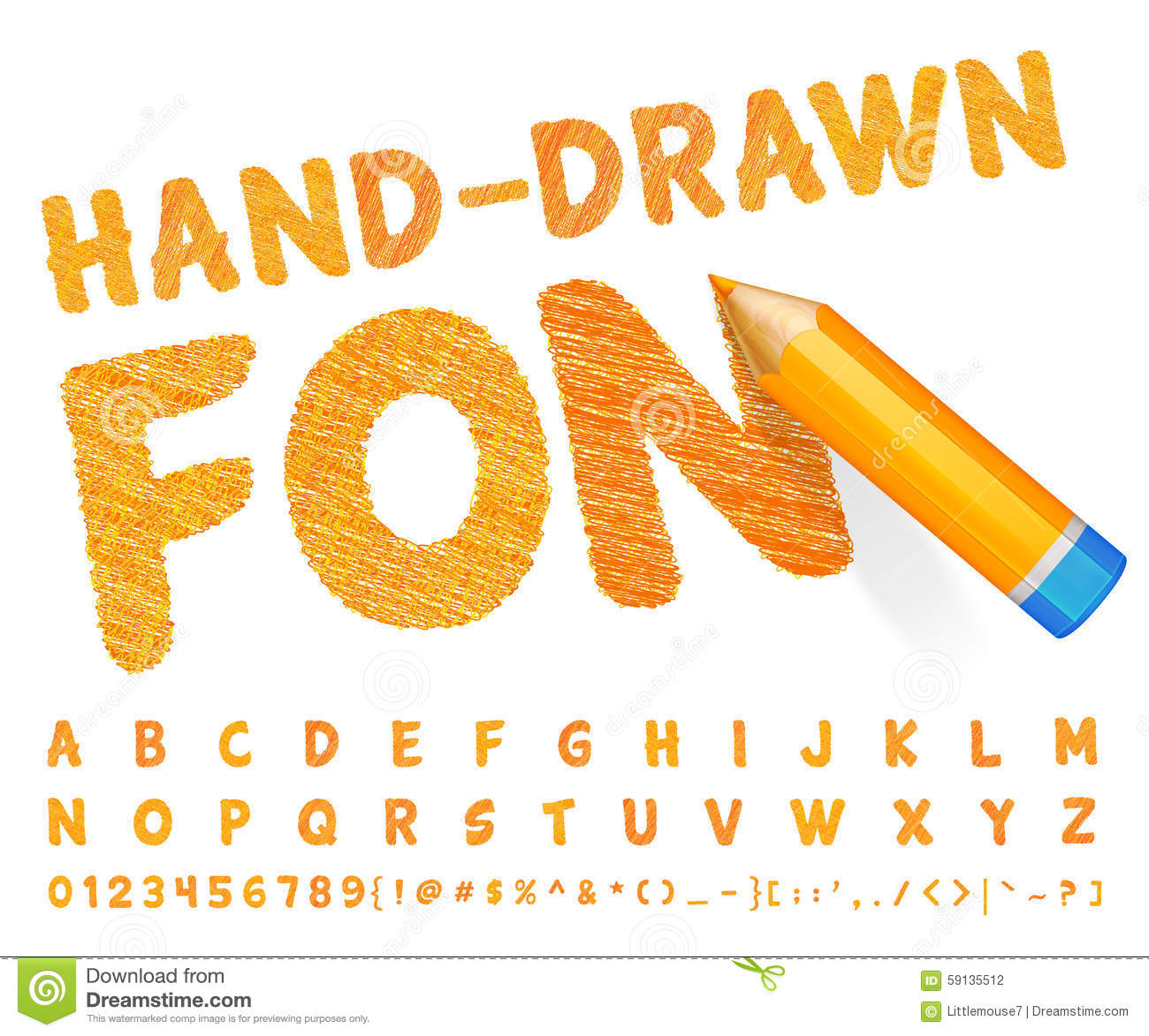 Orange font drawn with highly detailed orange pencil download preview