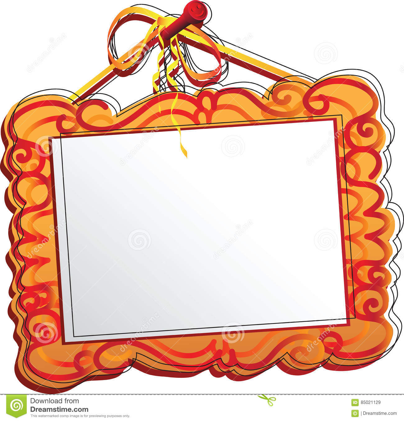 Orange Frame Of The Picture A Stylized Wood Frame With Pattern For