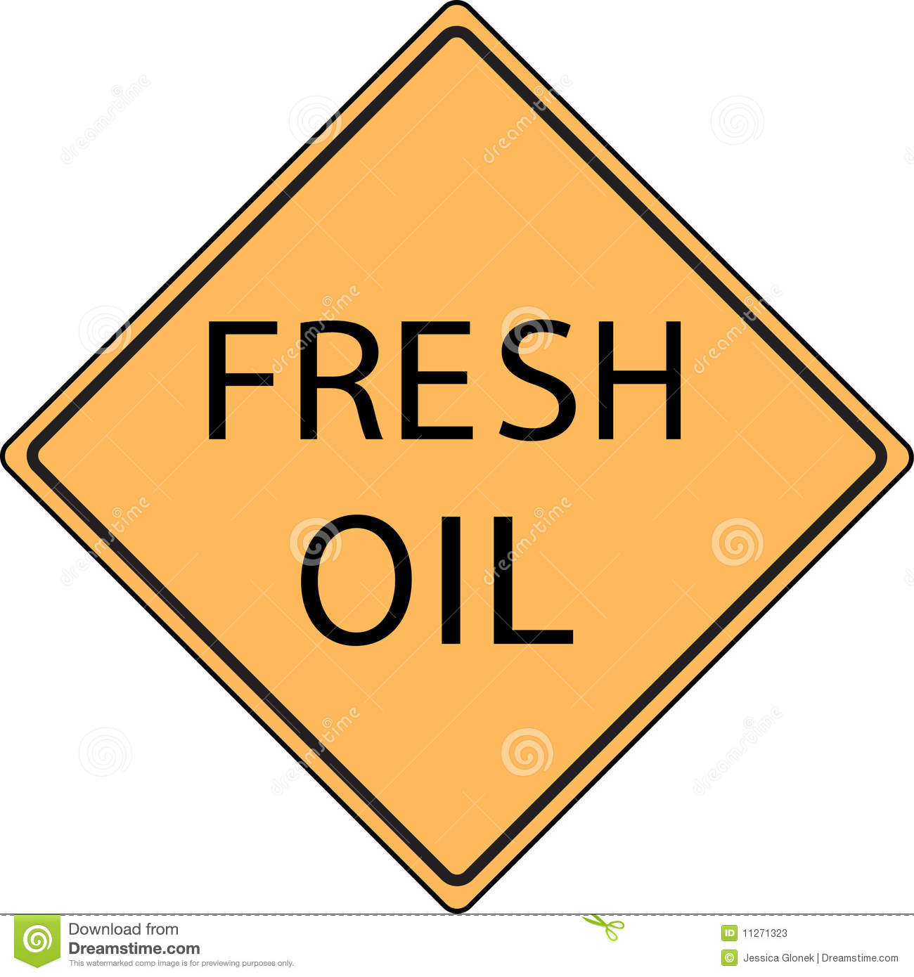 Orange Fresh Oil road sign
