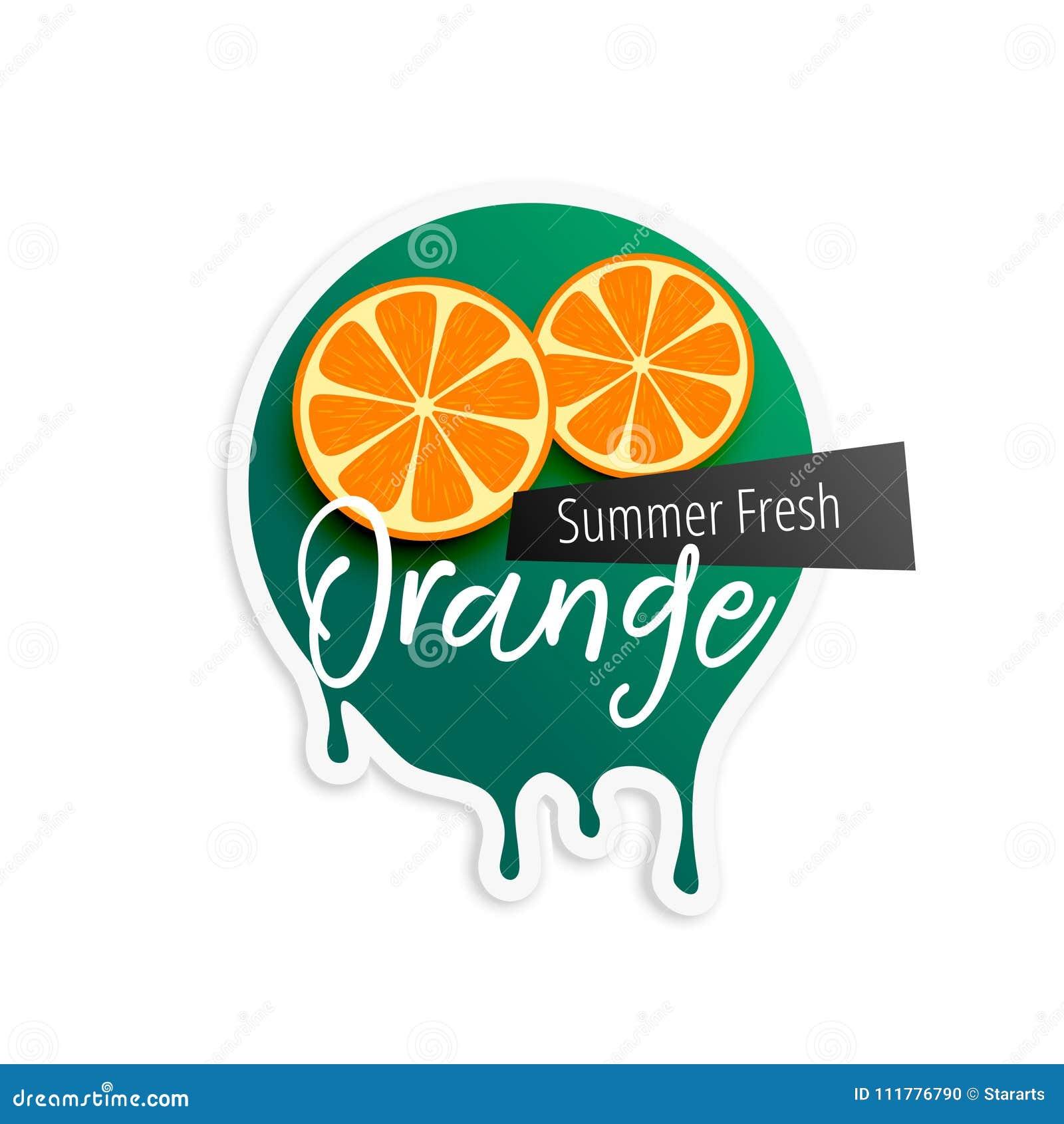 Orange Fruchtaufkleber für Sommersaison